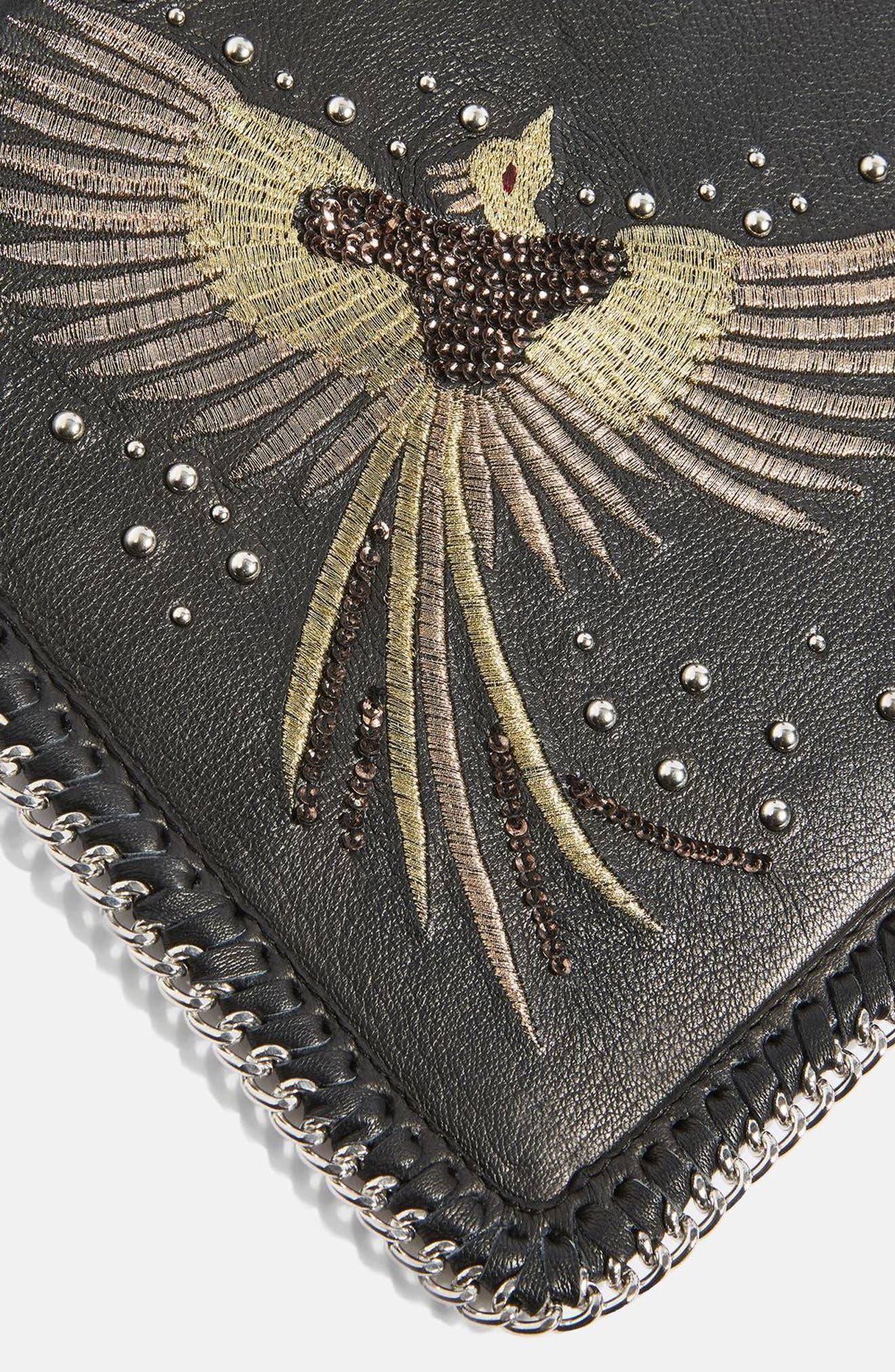 New Ava Bird Leather Crossbody Bag,                             Alternate thumbnail 4, color,                             Black Multi