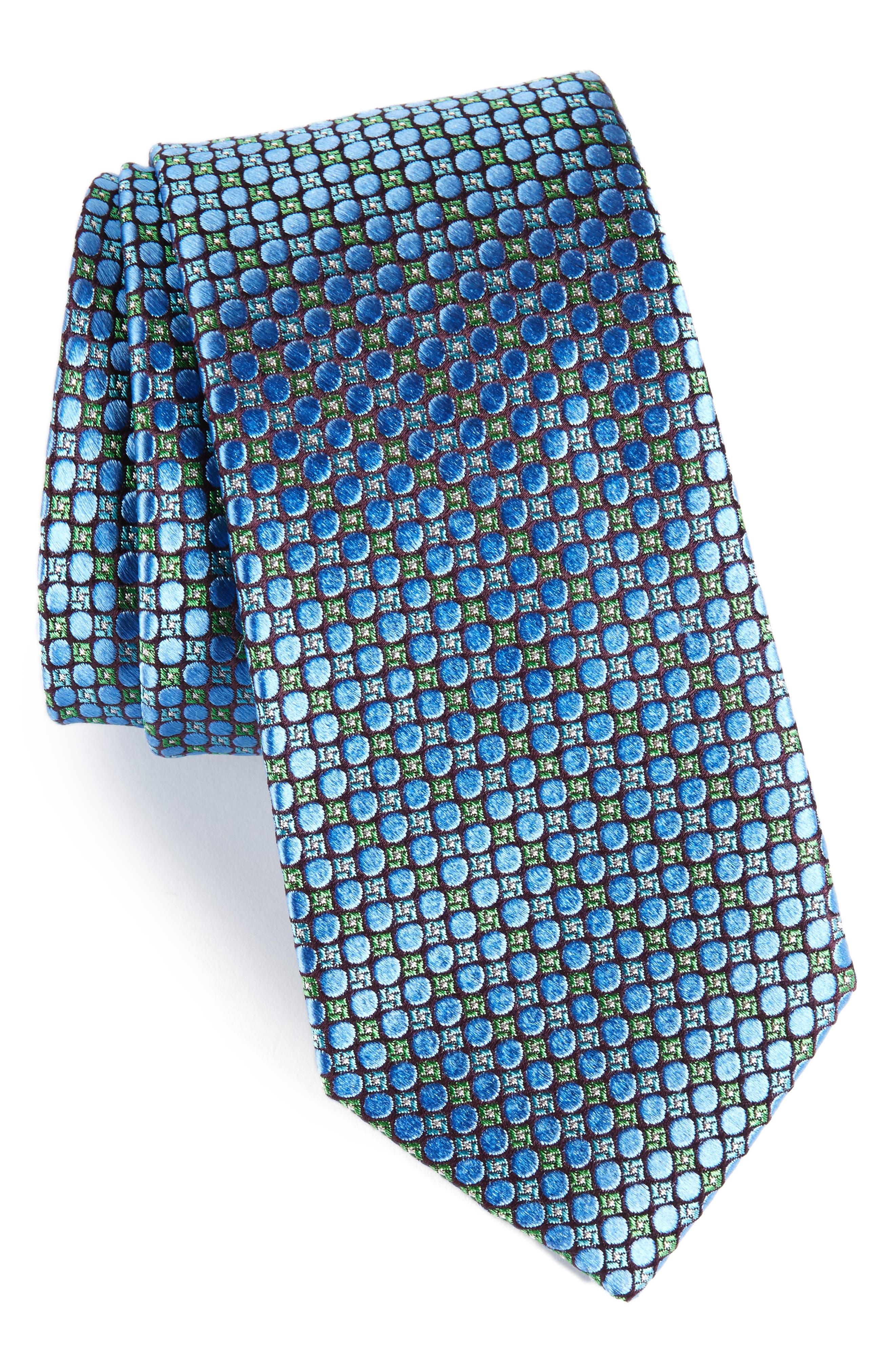Carter Dot Silk Tie,                         Main,                         color, Medium Blue