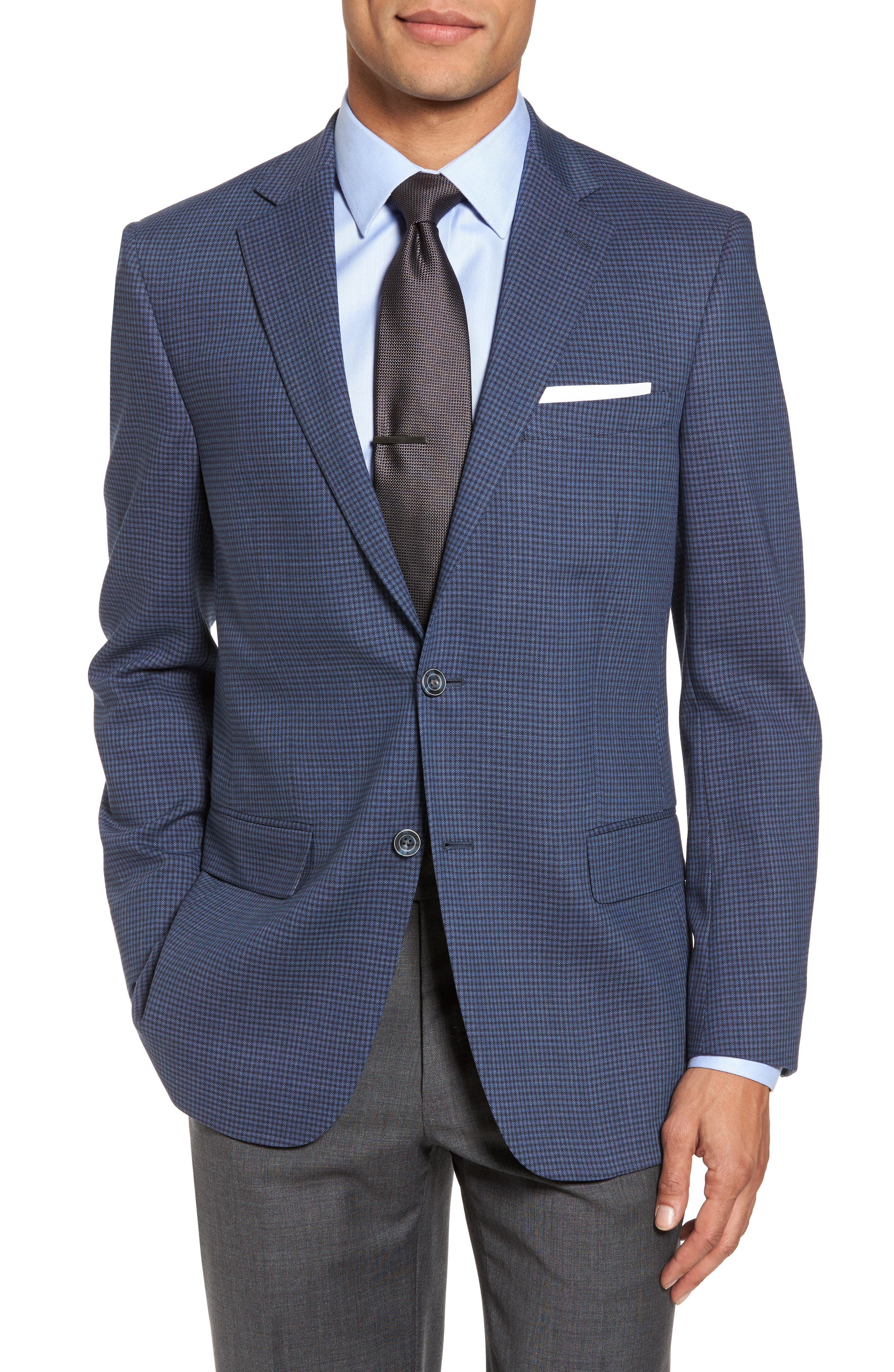 Classic Fit Stretch Check Wool Sport Coat,                         Main,                         color, Navy