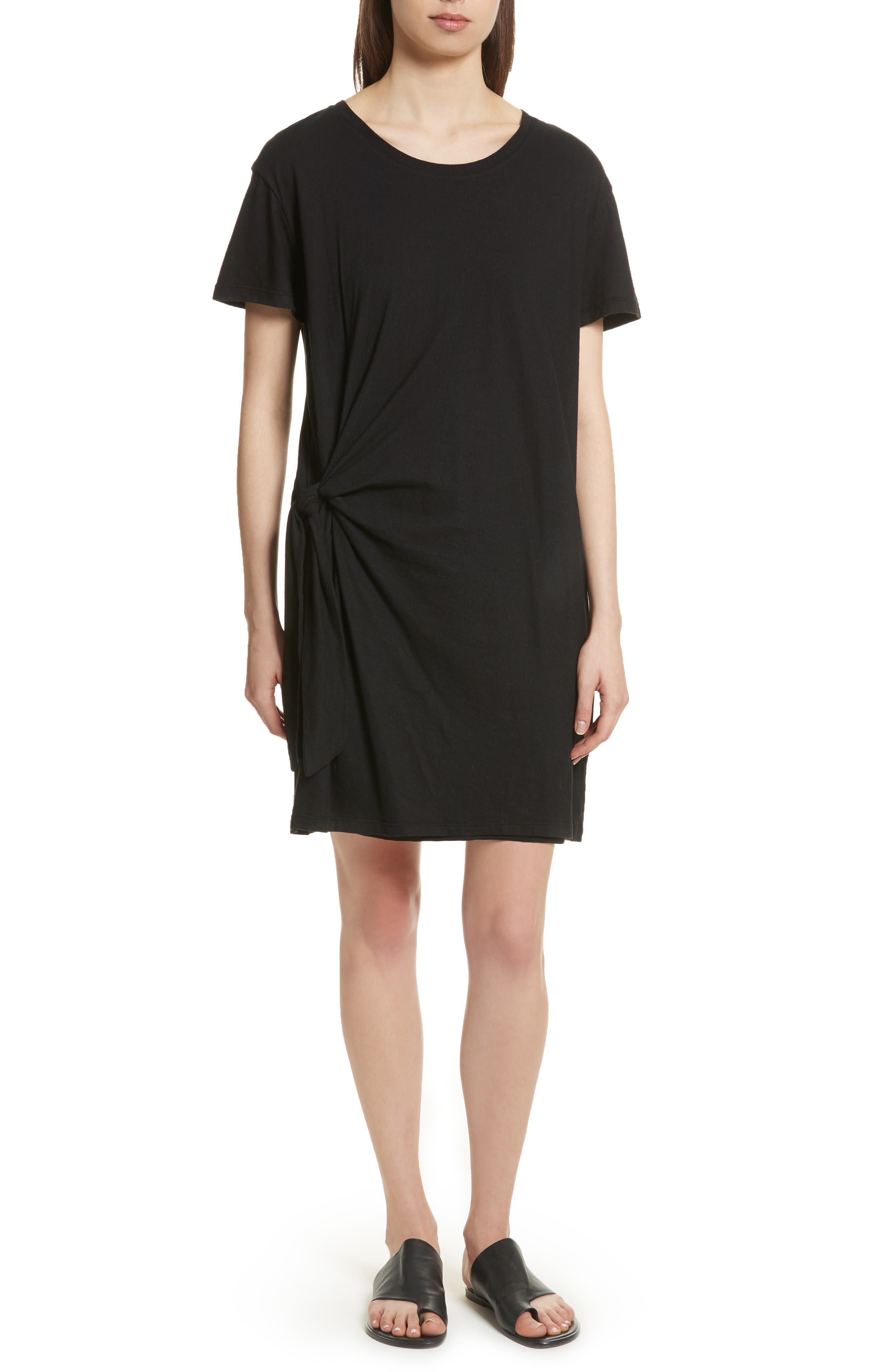 Side Tie Cotton Dress,                         Main,                         color, Black