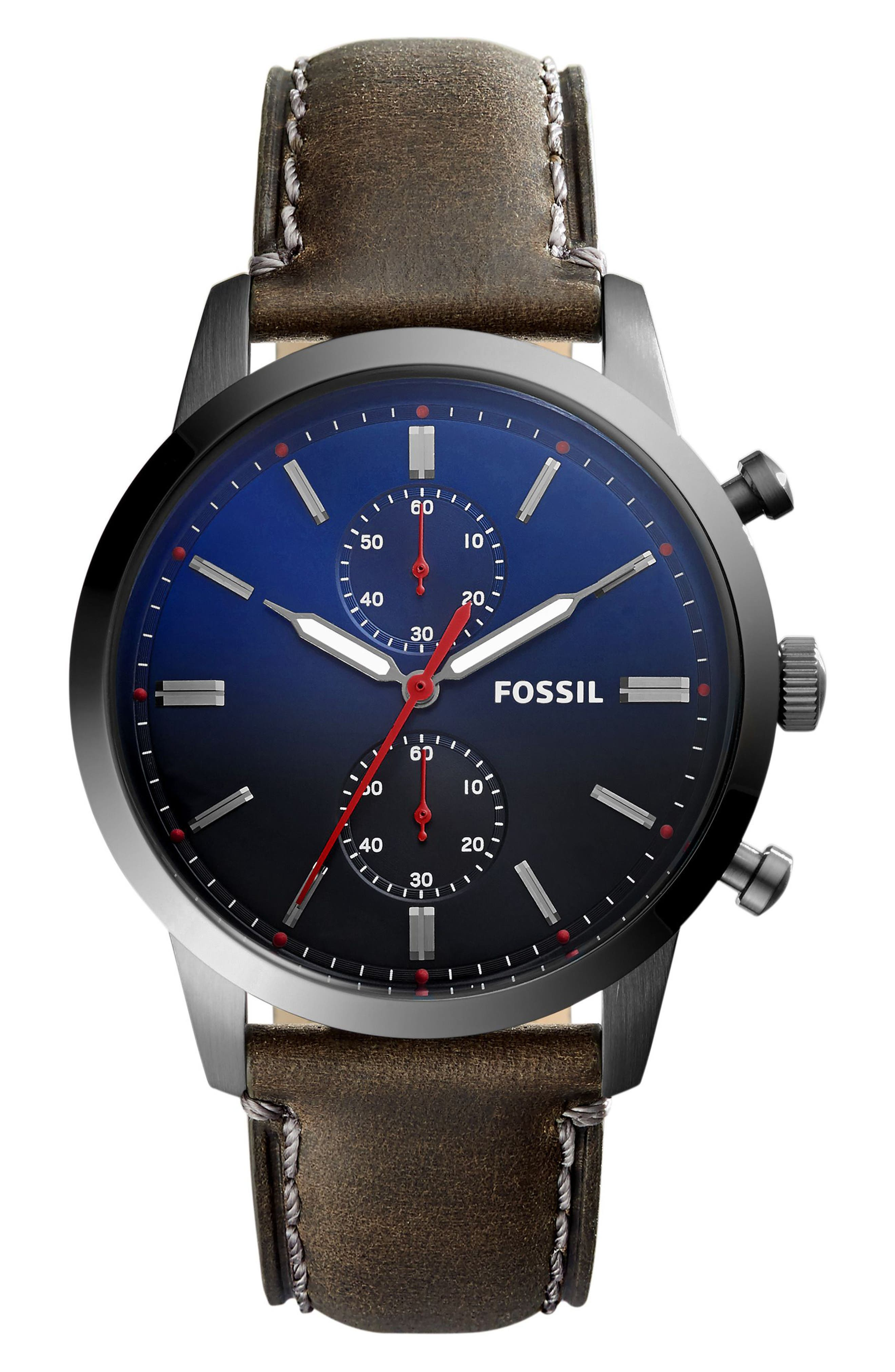 Townsmen Chronograph Leather Strap Watch, 44mm,                         Main,                         color, Grey/ Gunmetal