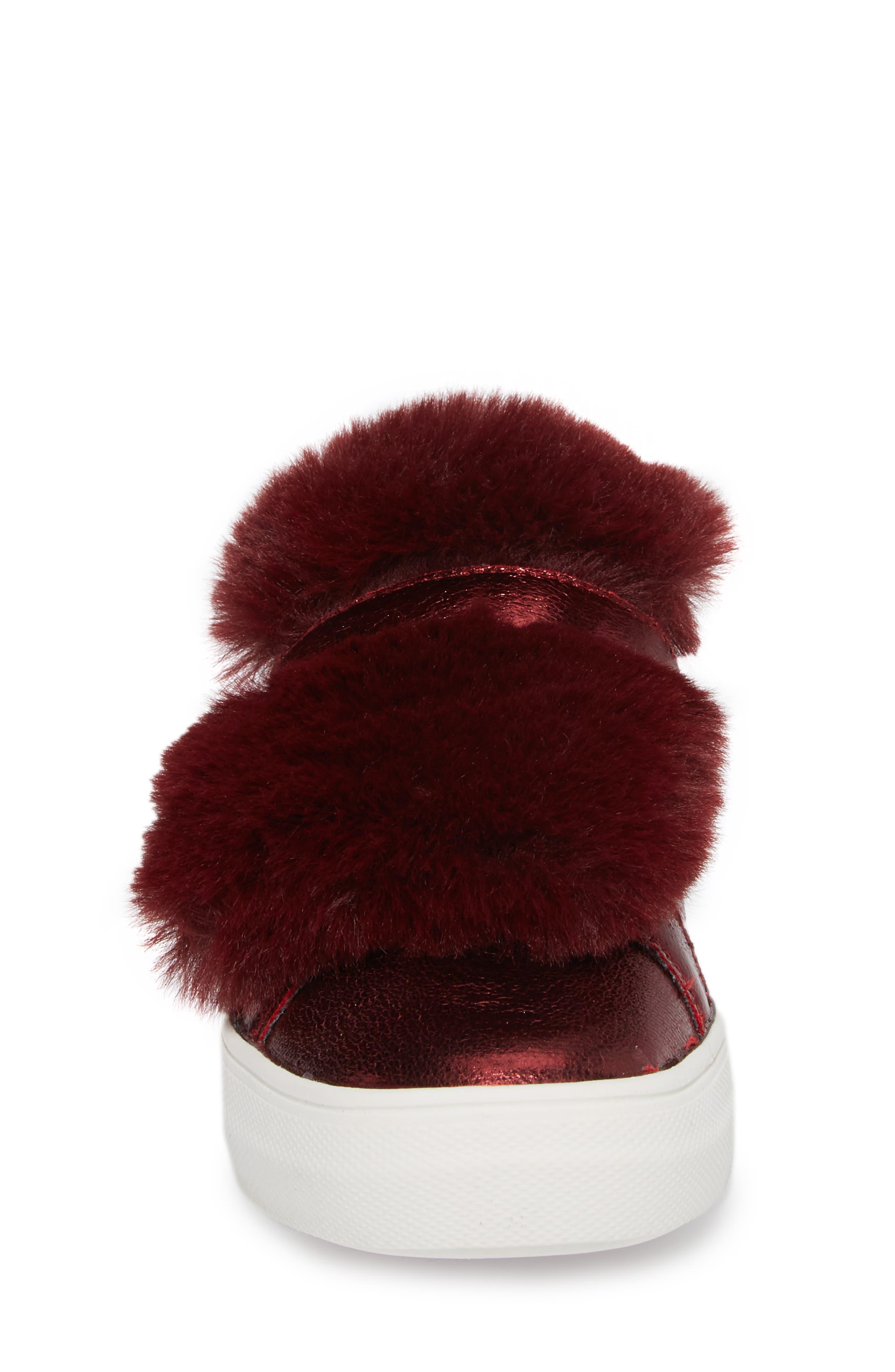 Zandra Faux Fur Metallic Sneaker,                             Alternate thumbnail 4, color,                             Burgundy Faux Leather