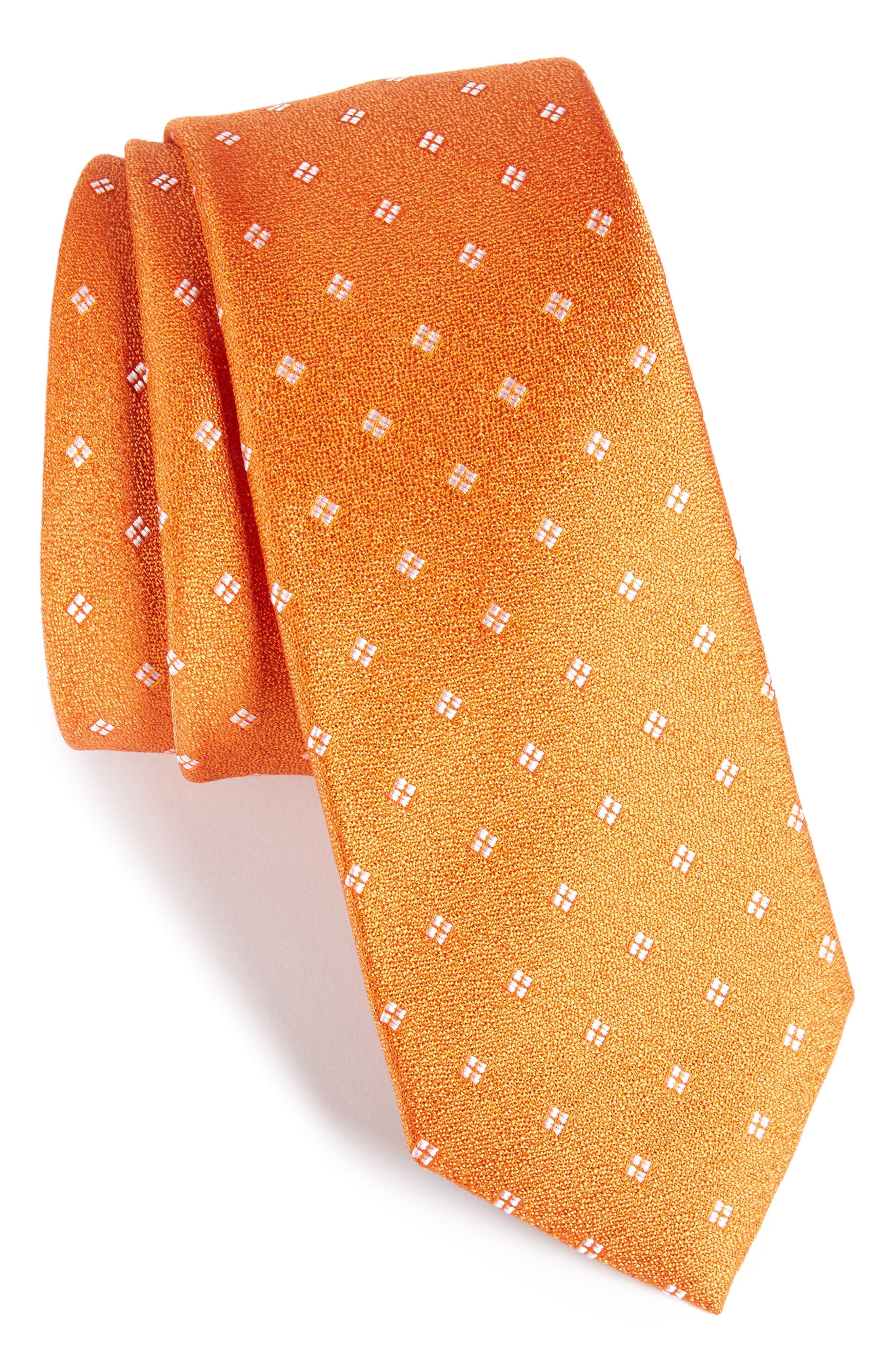 Moten Neat Silk Skinny Tie,                             Main thumbnail 1, color,                             Orange