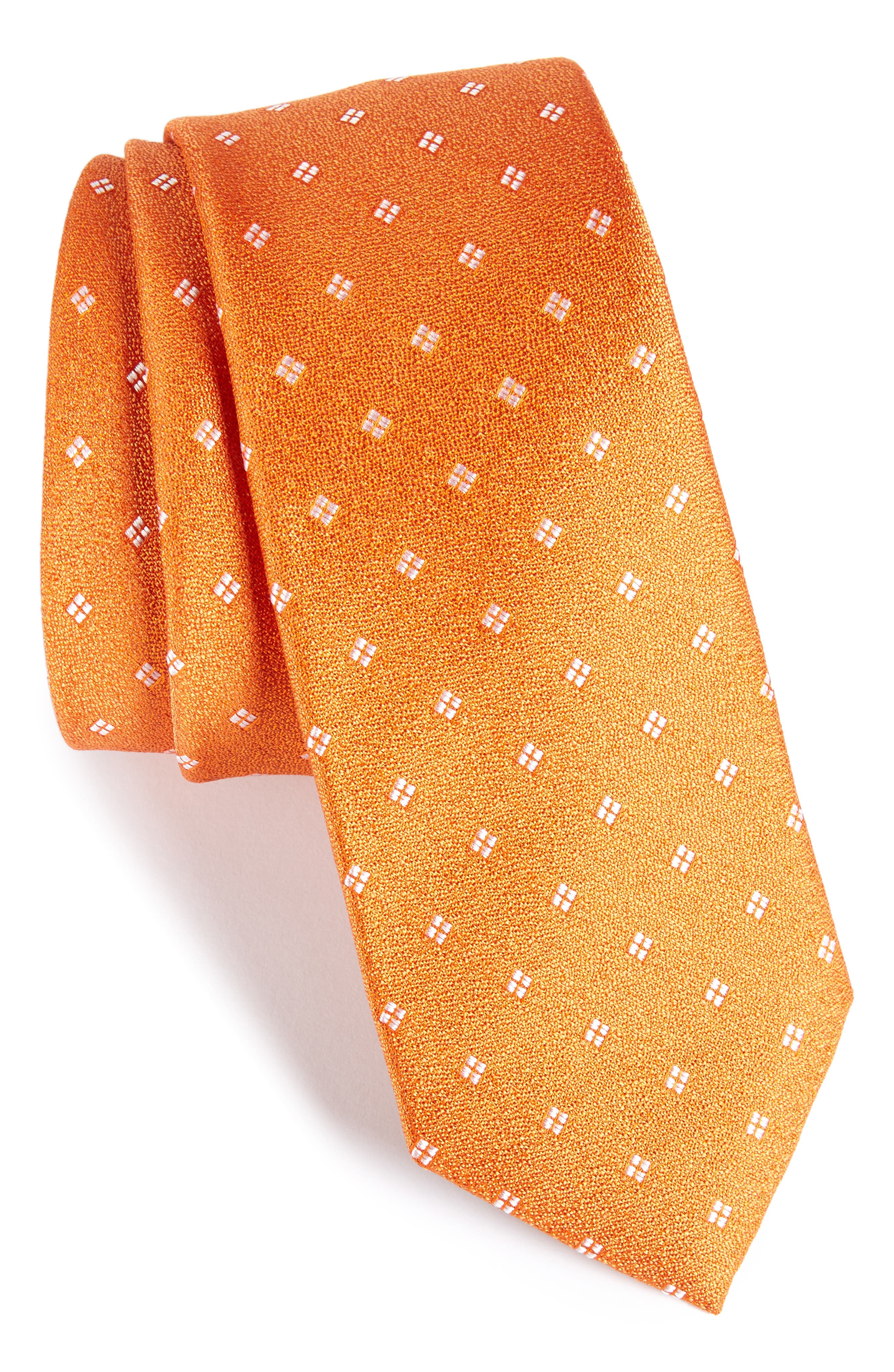 Moten Neat Silk Skinny Tie,                         Main,                         color, Orange