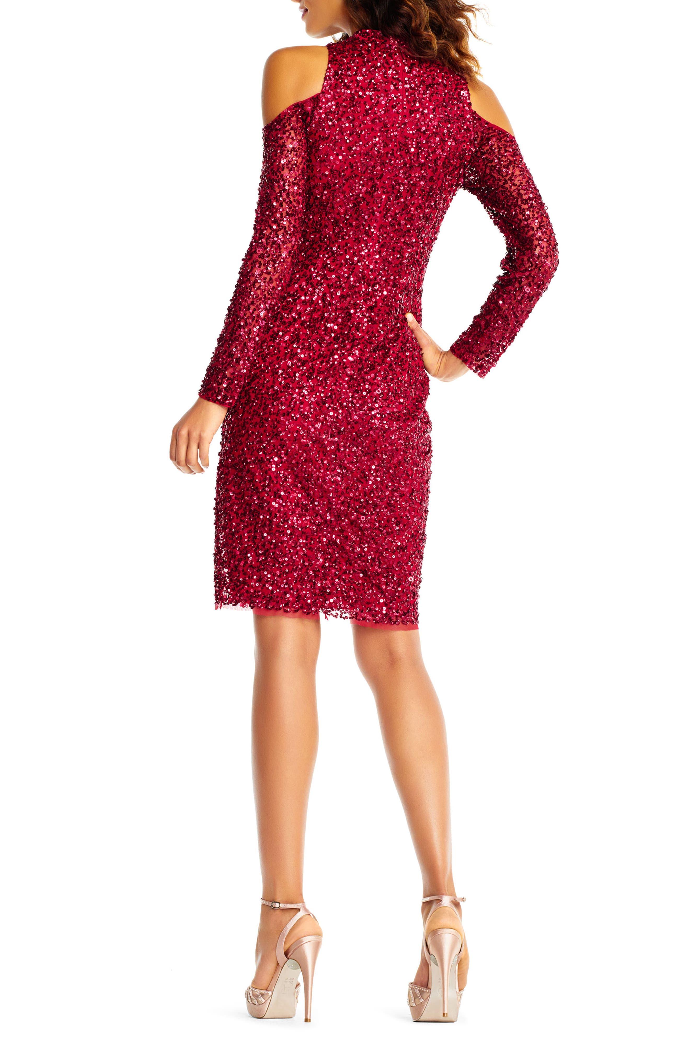 Beaded Cold Shoulder Sheath Dress,                             Alternate thumbnail 2, color,                             Cranberry