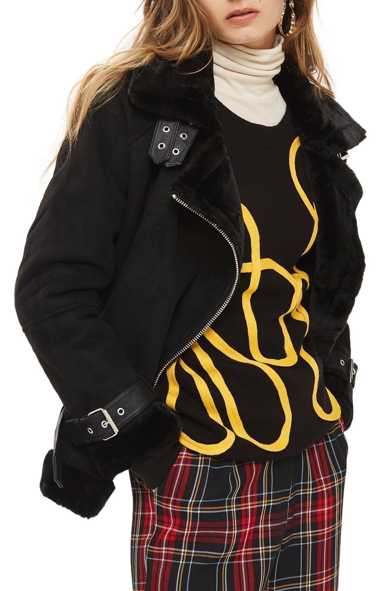 Main Image - Topshop Faux Shearling Biker Jacket (Petite)