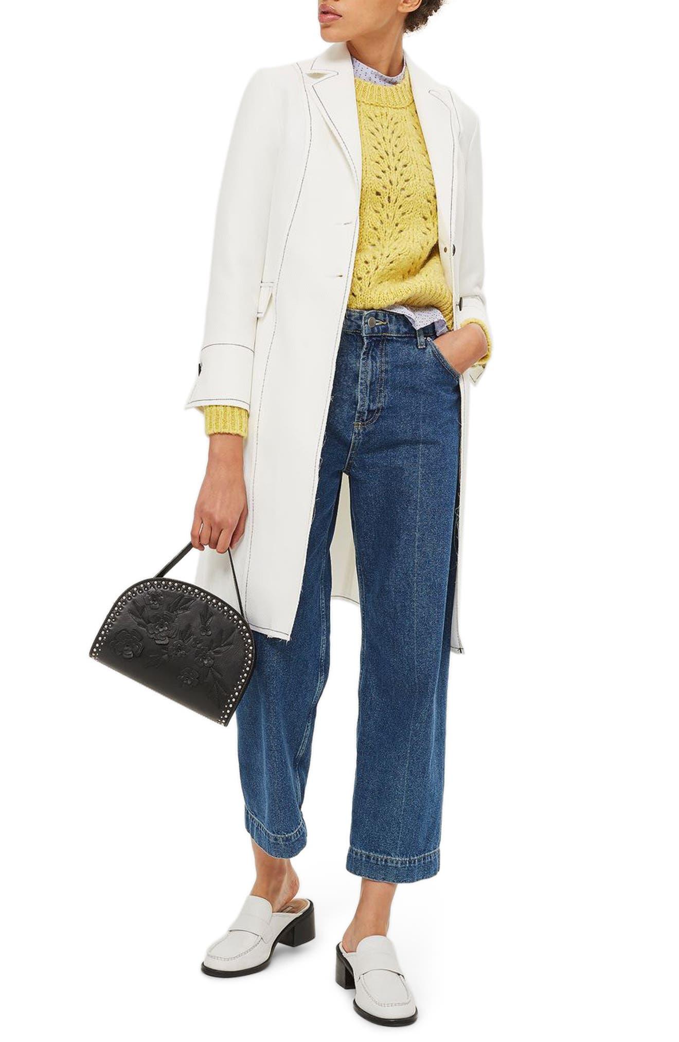 Contrast Stitch Twill Coat,                         Main,                         color, White