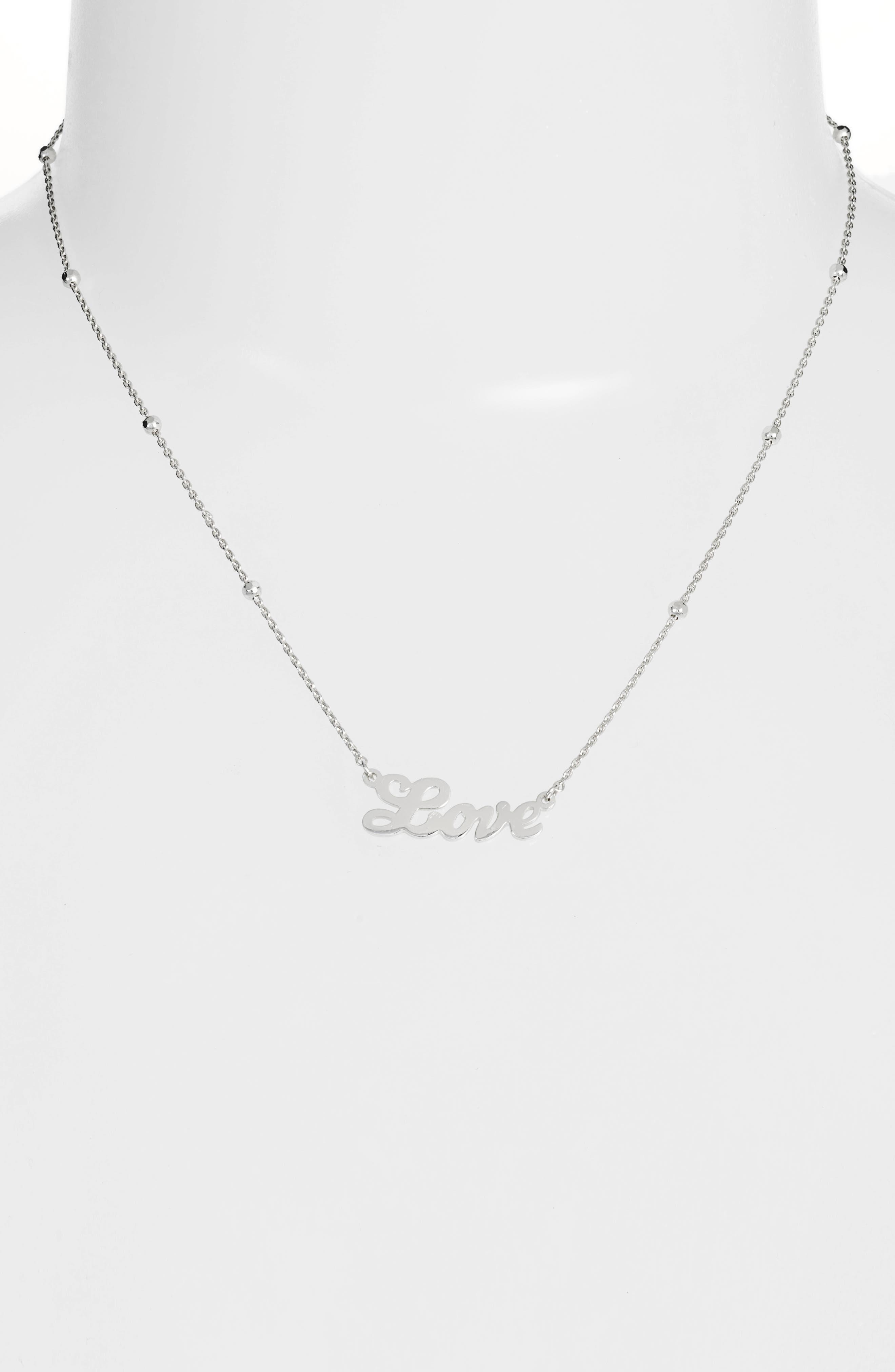 Love Pendant Necklace,                             Alternate thumbnail 2, color,                             Silver