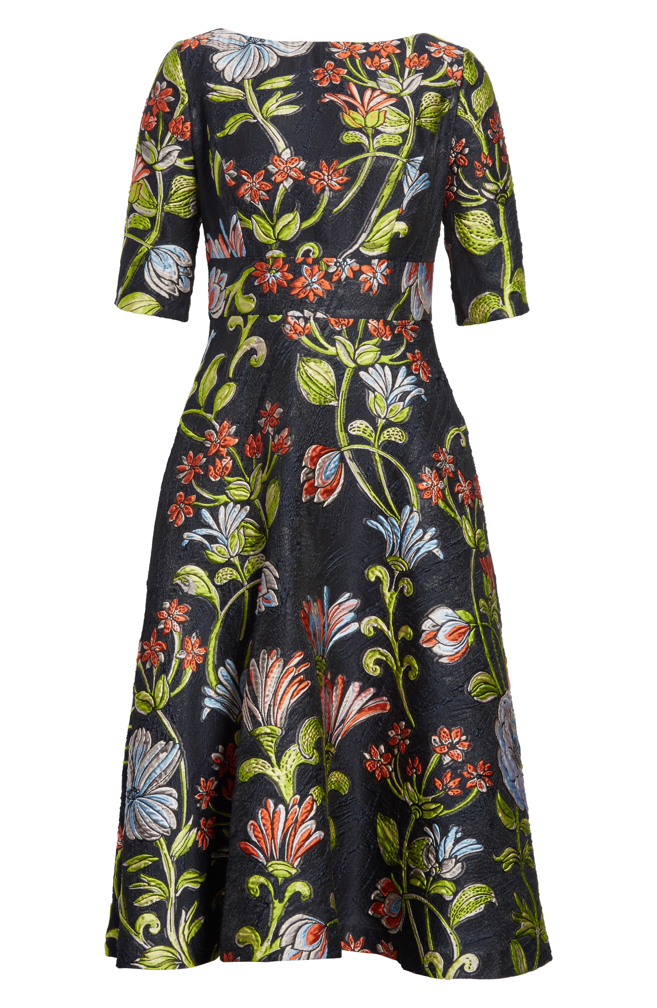 Floral Matelassé A-Line Dress,                             Alternate thumbnail 7, color,                             Navy Multi