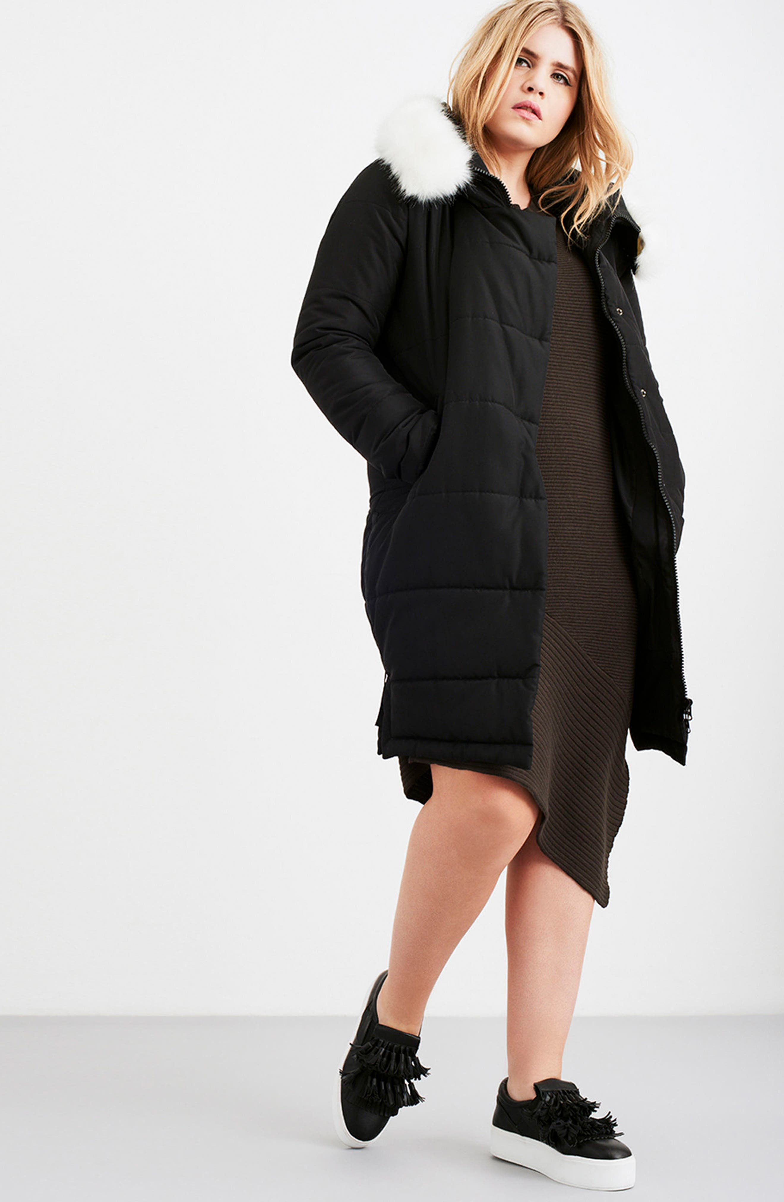 Puffer Coat with Faux Fur Trim,                             Alternate thumbnail 7, color,                             Black