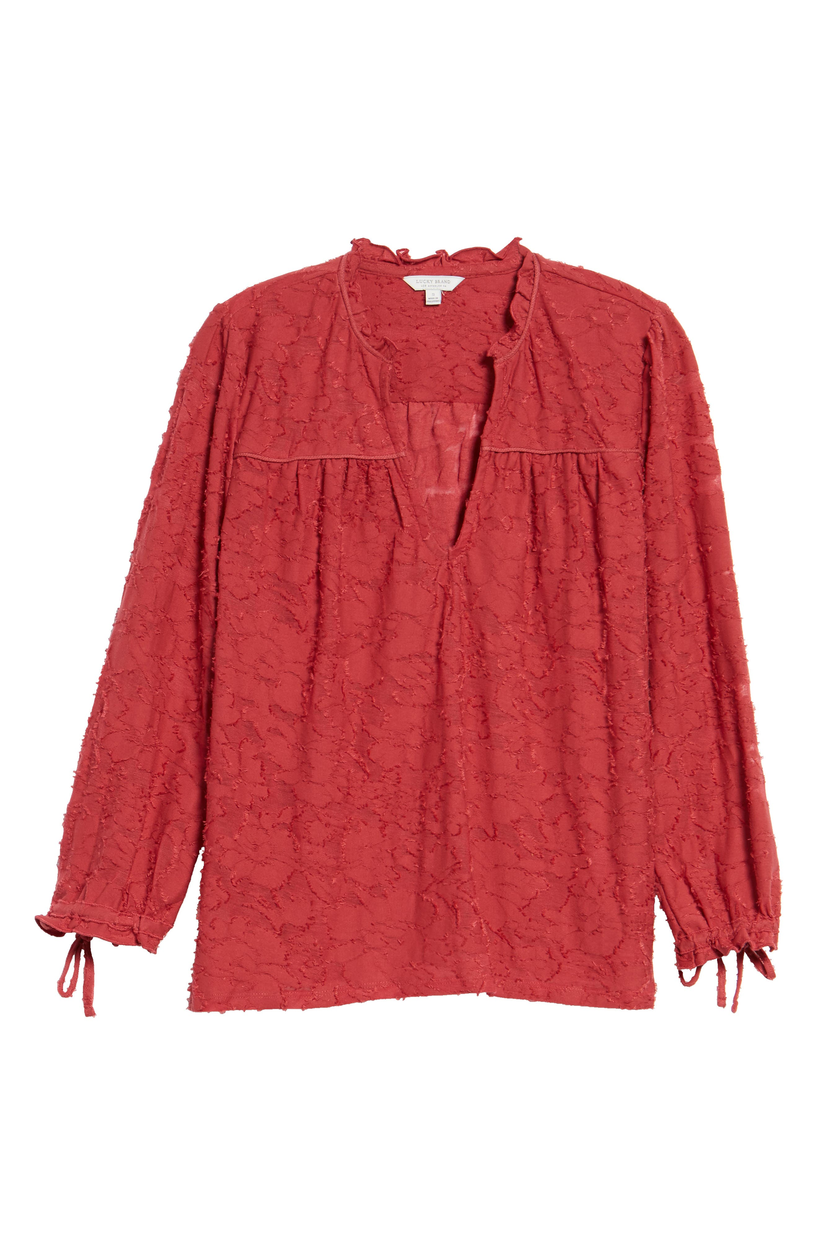 Floral Clipped Jacquard Top,                         Main,                         color, Earth Red