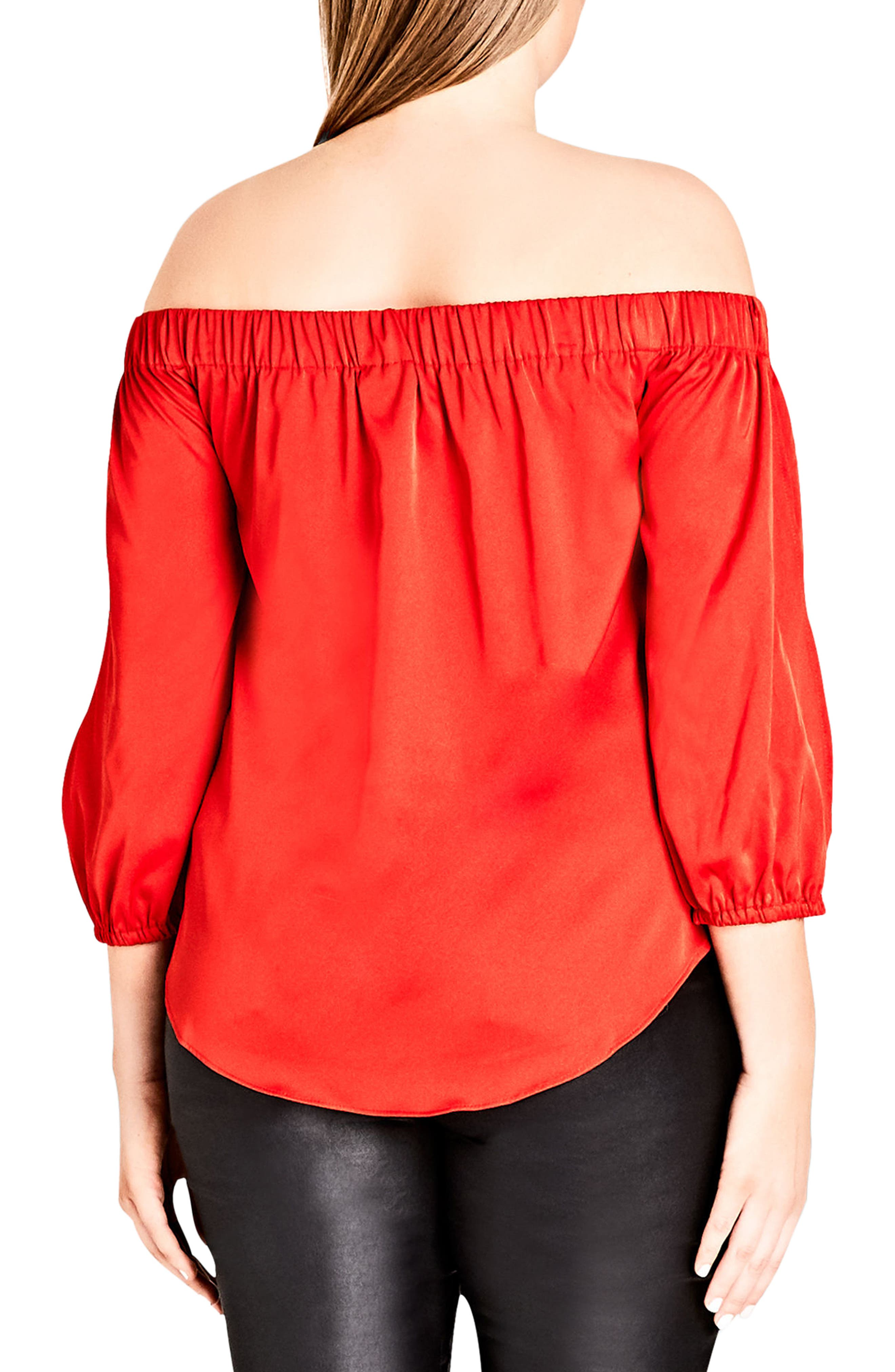 Off the Shoulder Satin Top,                             Alternate thumbnail 2, color,                             Red