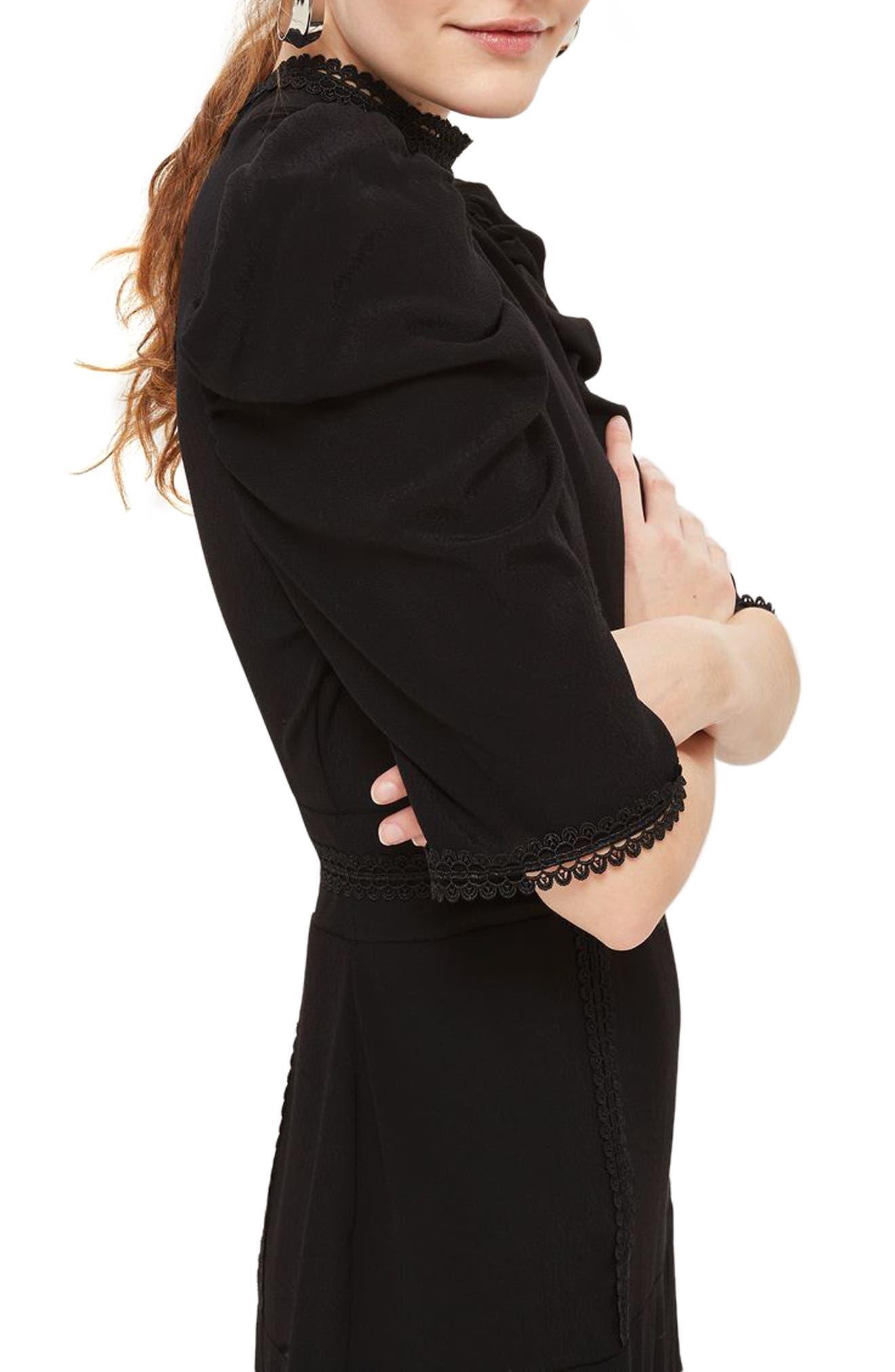 Corset Back Tiered Midi Dress,                             Alternate thumbnail 3, color,                             Black