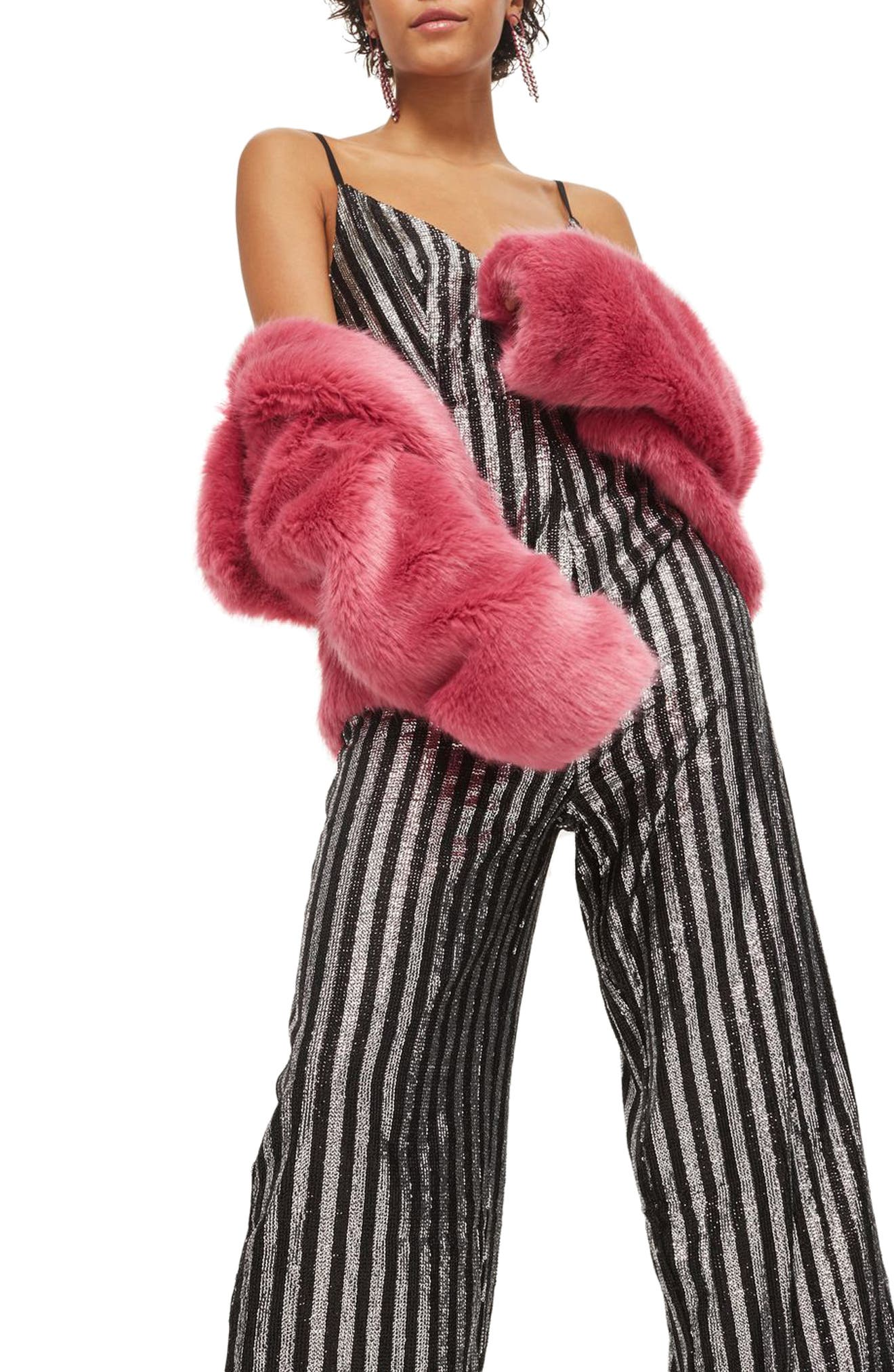 Sequin Stripe Jumpsuit,                             Alternate thumbnail 3, color,                             Silver Multi