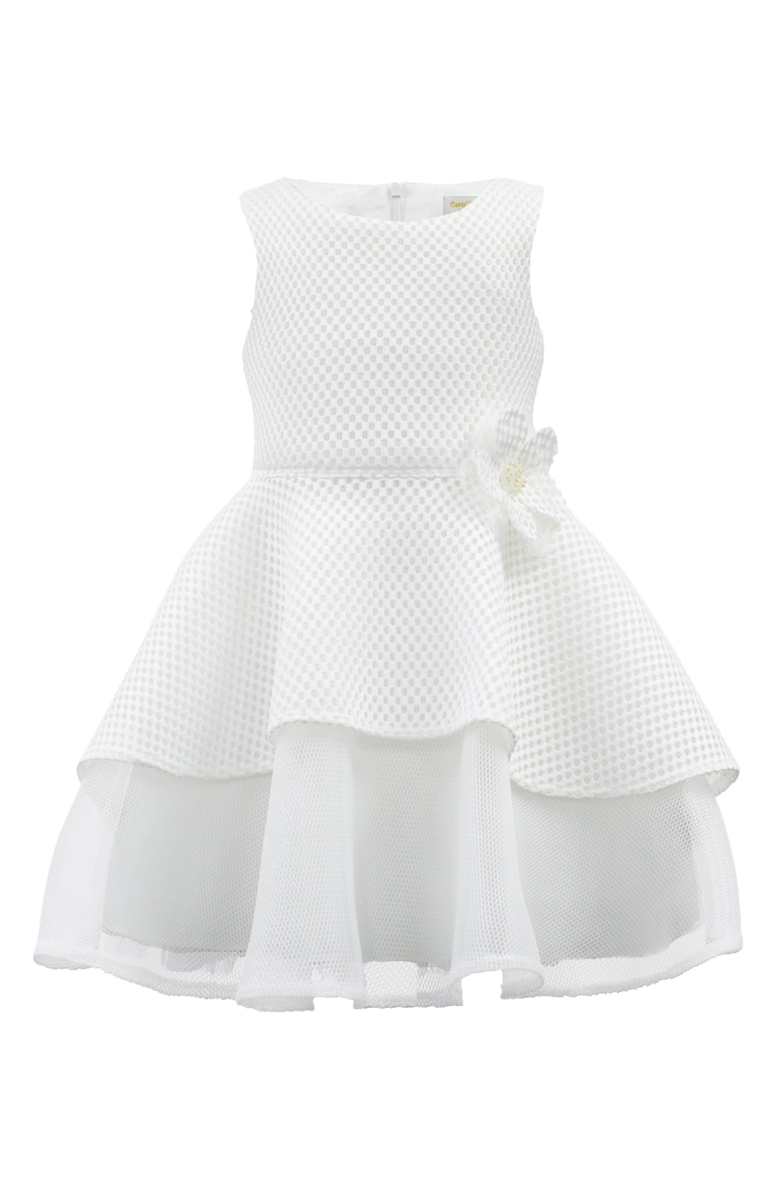 Techno Mesh Fit & Flare Dress,                             Main thumbnail 1, color,                             Ivory