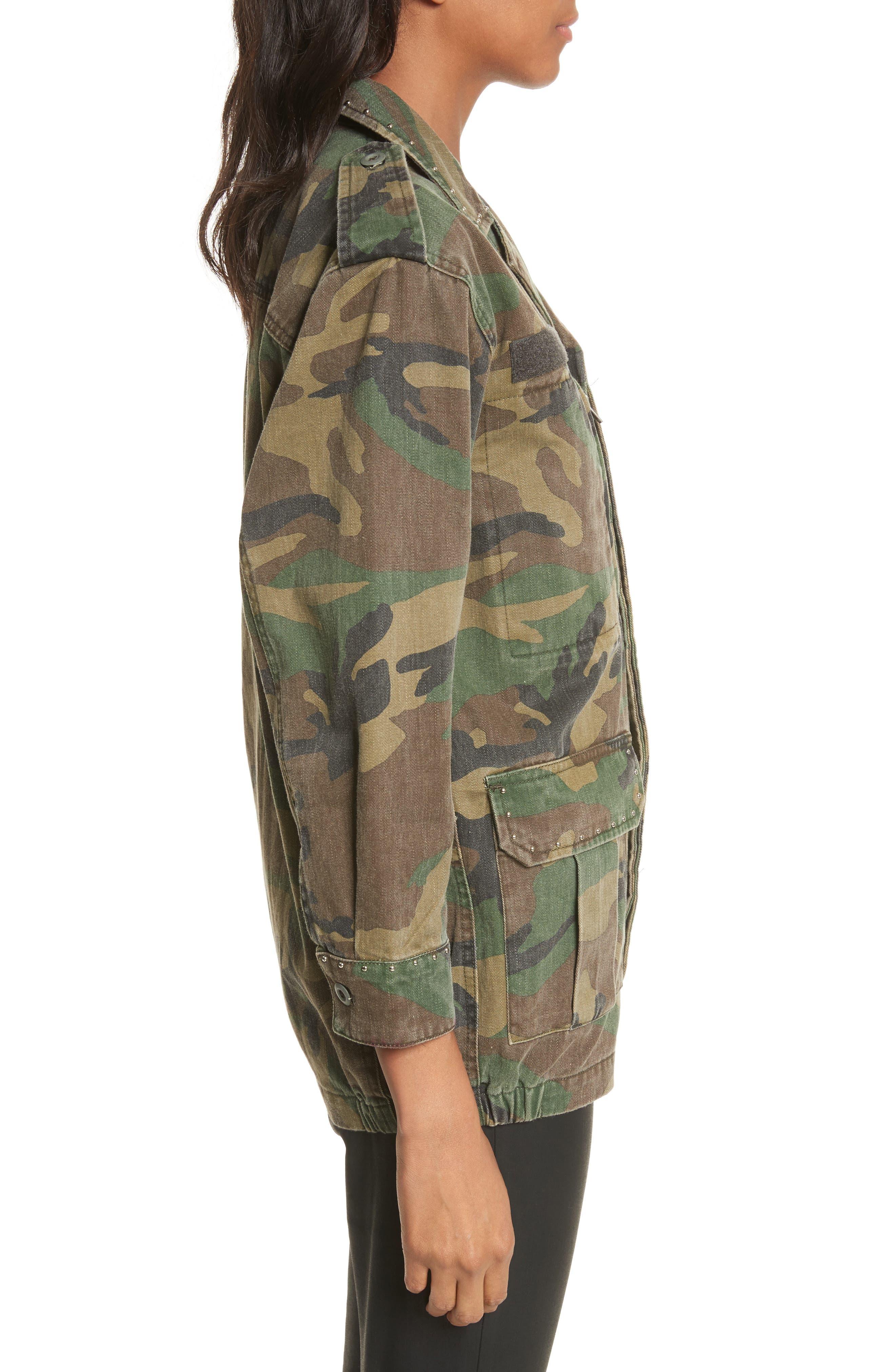 Studded Camouflage Jacket,                             Alternate thumbnail 3, color,                             Khaki