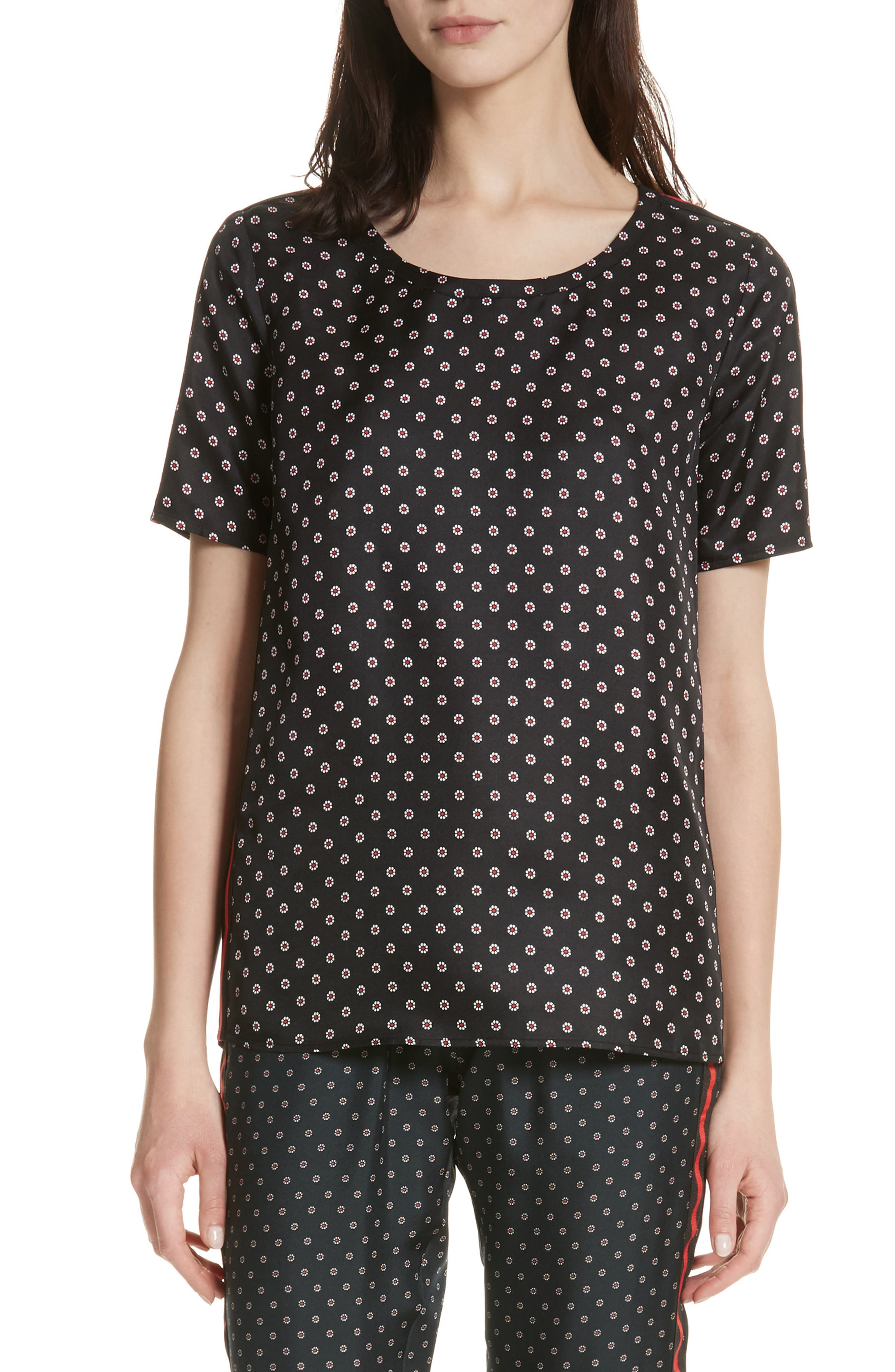 Ruby Floral Silk Tee,                         Main,                         color, Black
