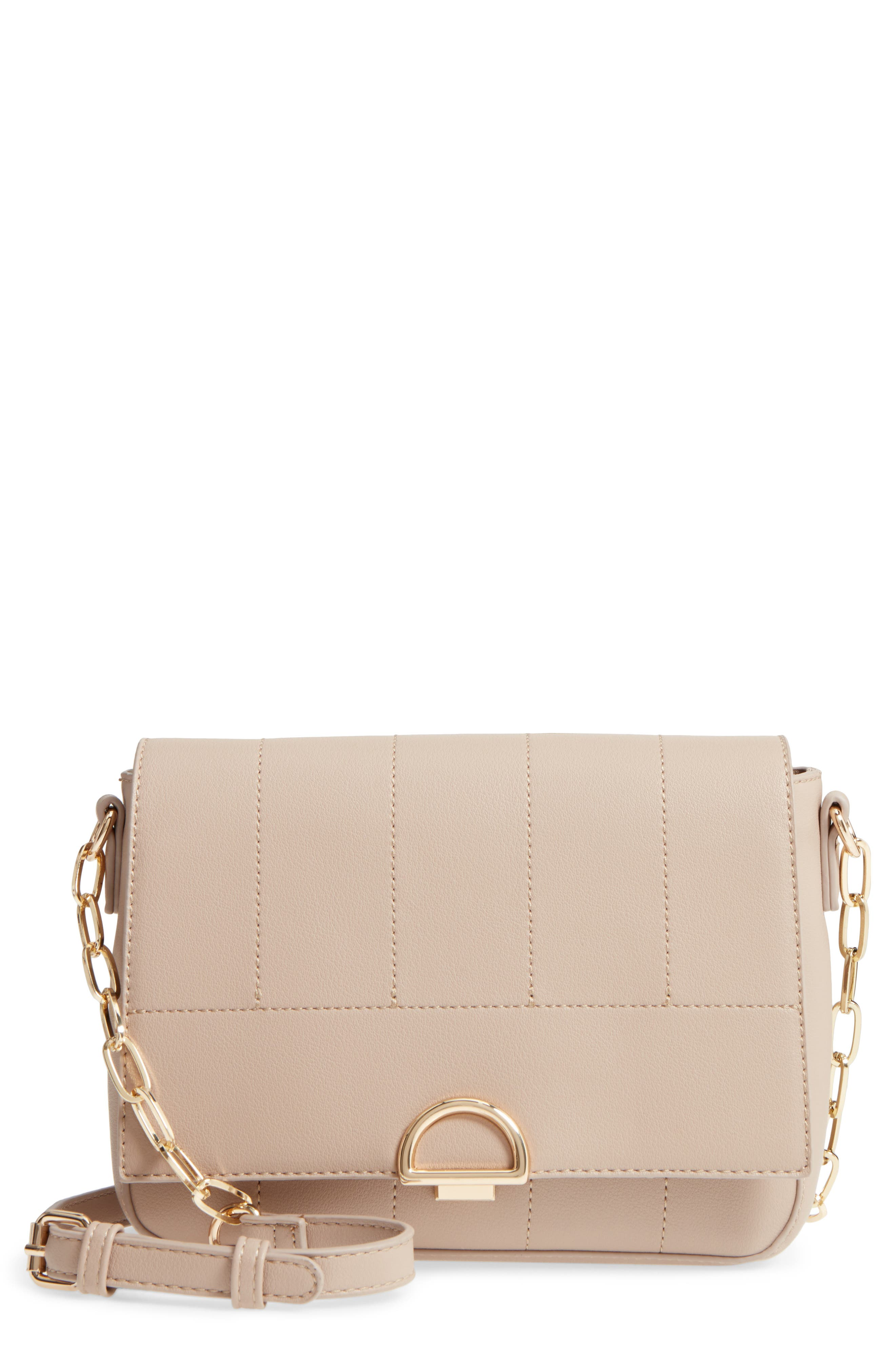 Colie Faux Leather Crossbody Bag,                             Main thumbnail 1, color,                             Taupe