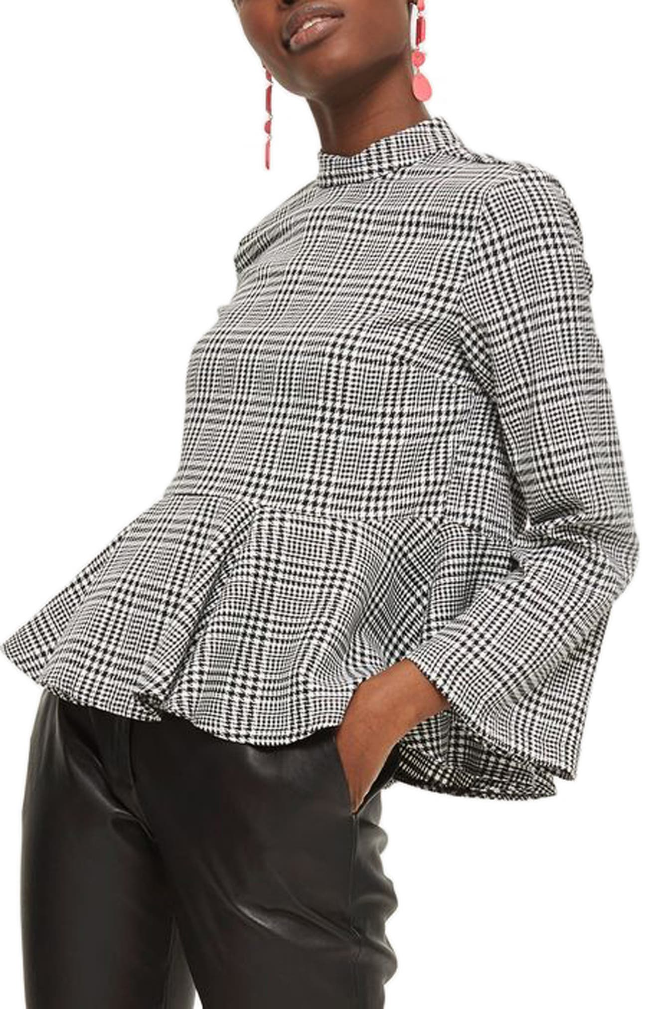 Check Peplum Blouse,                             Alternate thumbnail 3, color,                             Grey Multi