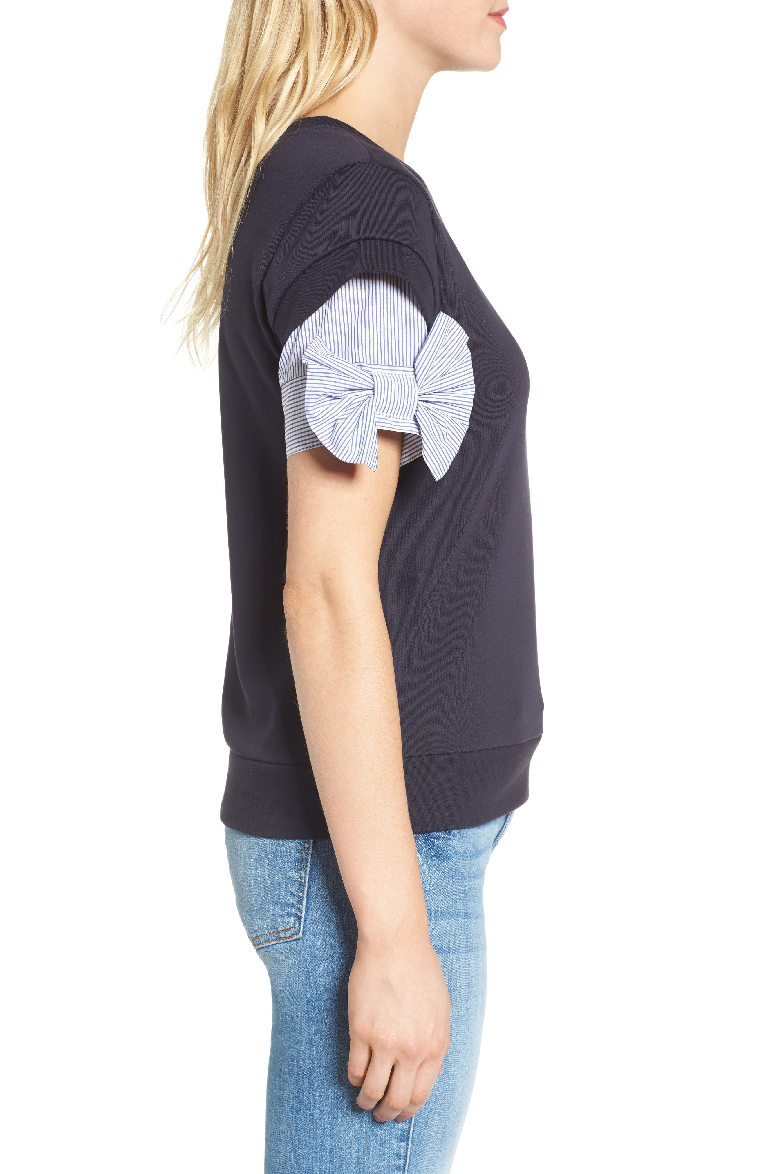 Bow Sleeve Sweatshirt,                             Alternate thumbnail 3, color,                             Navy Well
