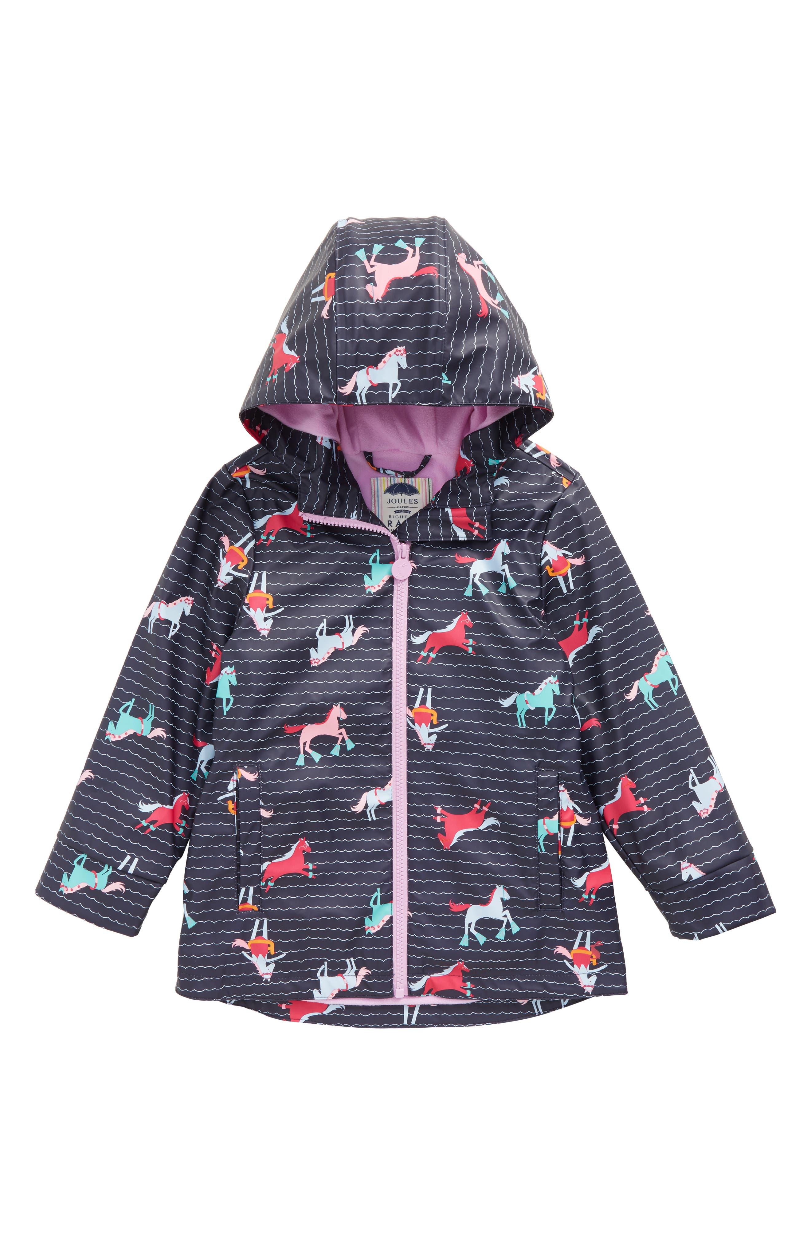 Main Image - Joules Fleece Lined Rain Jacket (Toddler Girls, Little Girls & Big Girls)