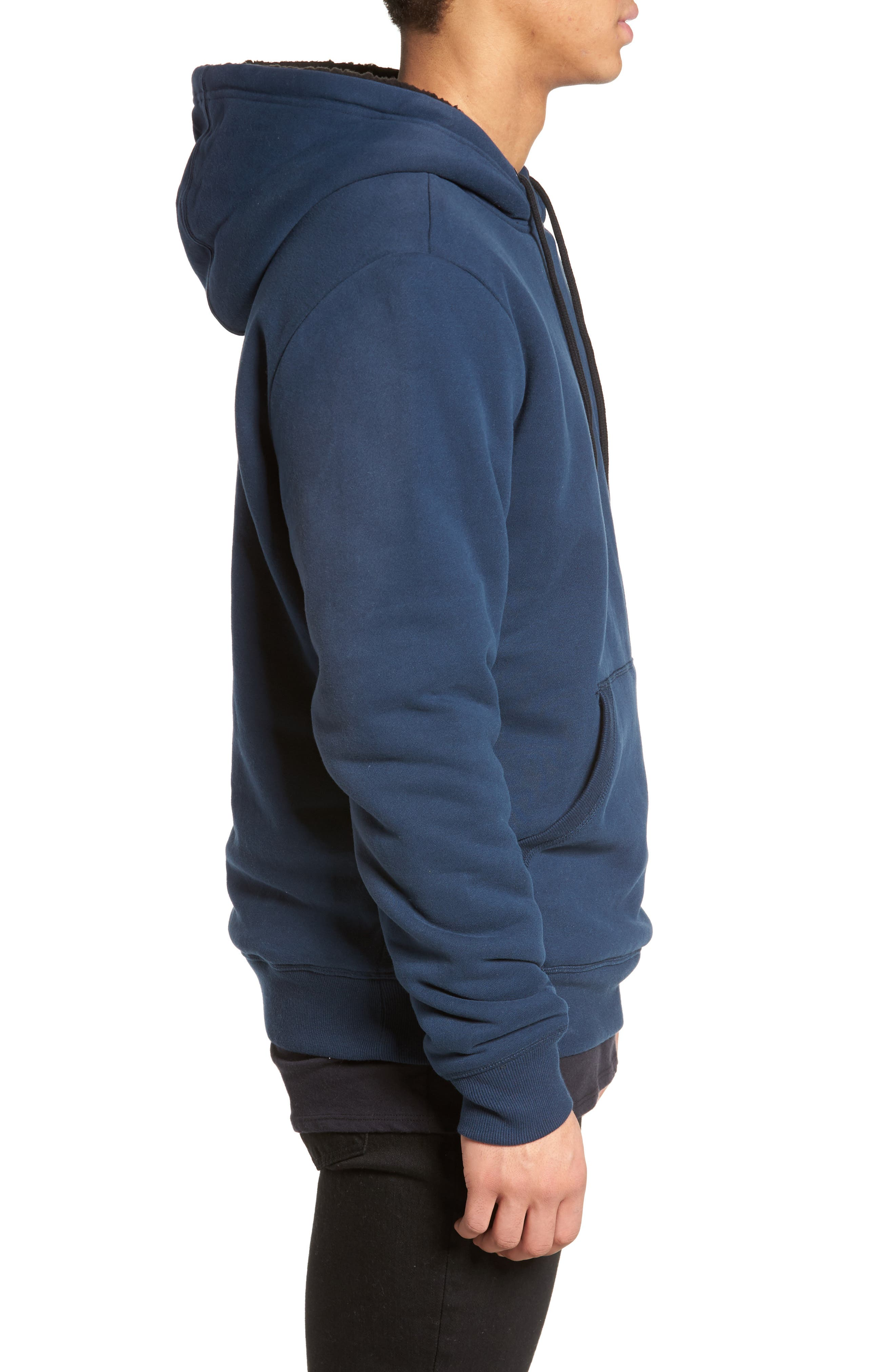 Staple Faux Shearling Trim Hoodie,                             Alternate thumbnail 3, color,                             Navy