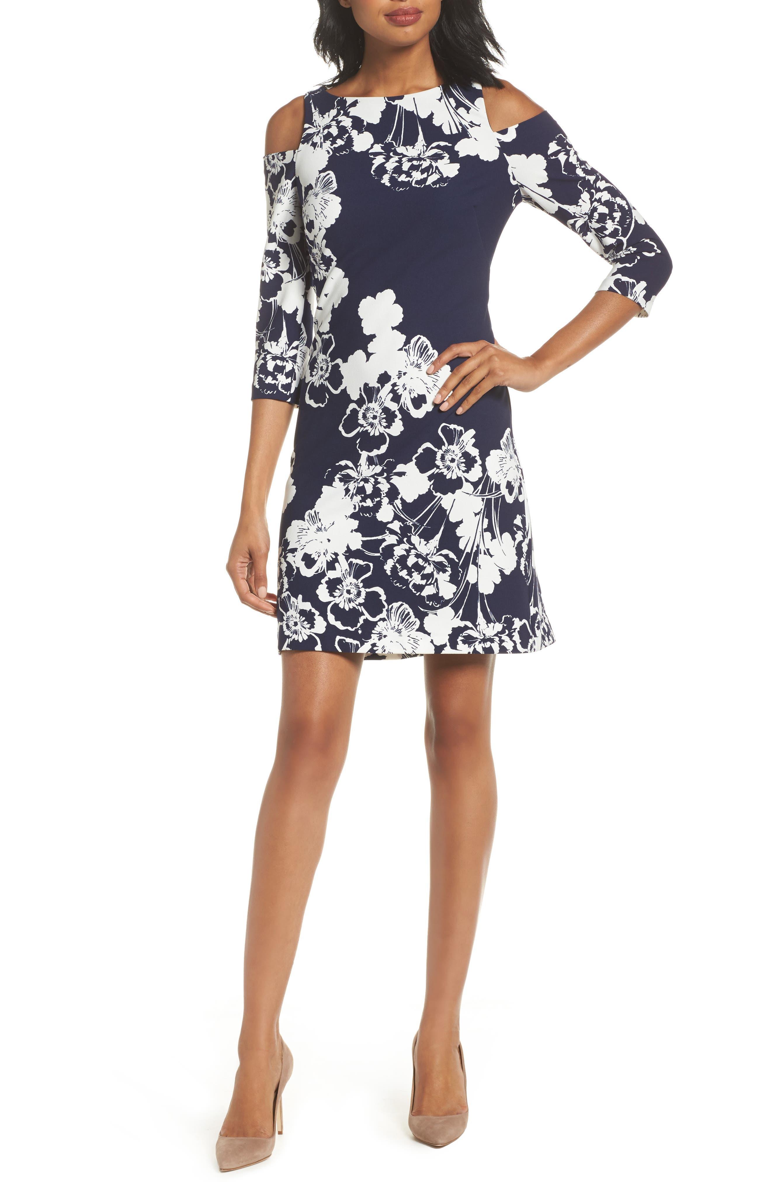 Cold Shoulder Shift Dress,                         Main,                         color, Navy/ Ivory