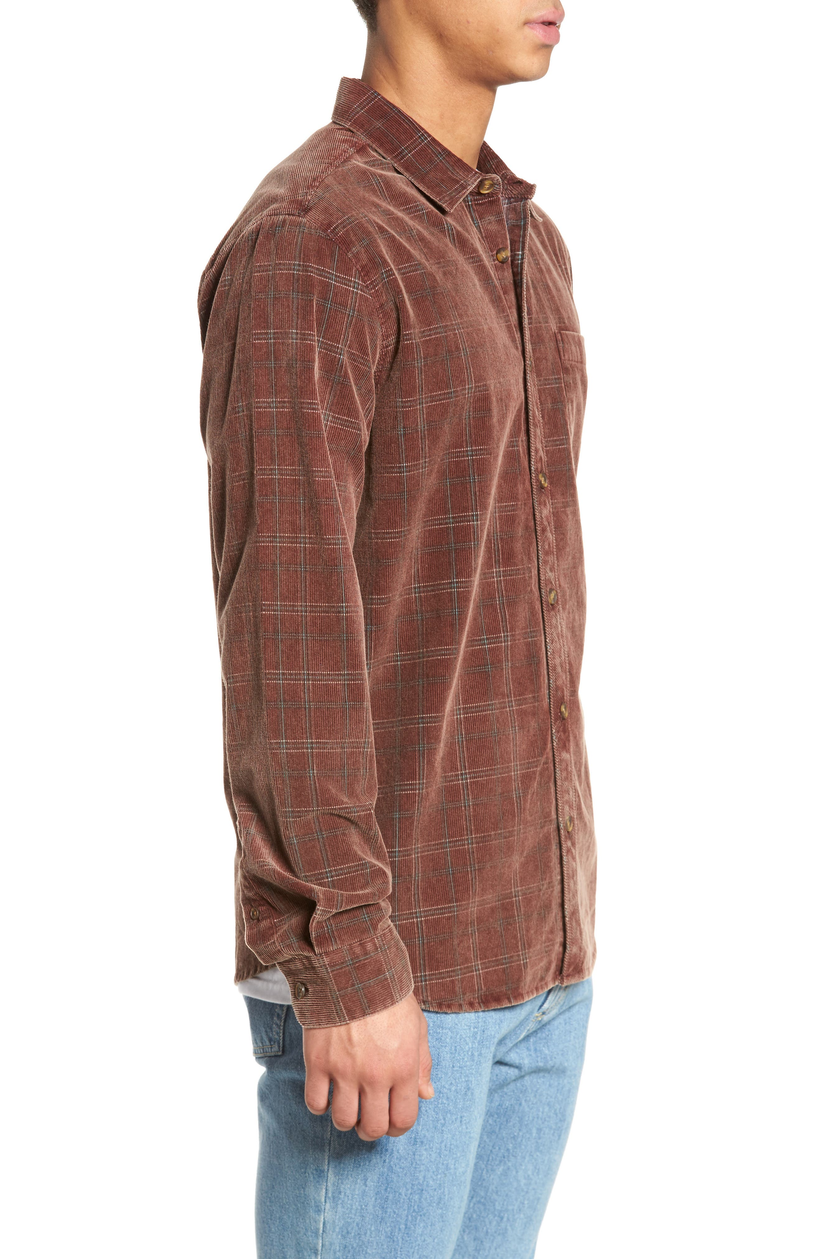 Bradley Corduroy Shirt,                             Alternate thumbnail 3, color,                             Burgundy