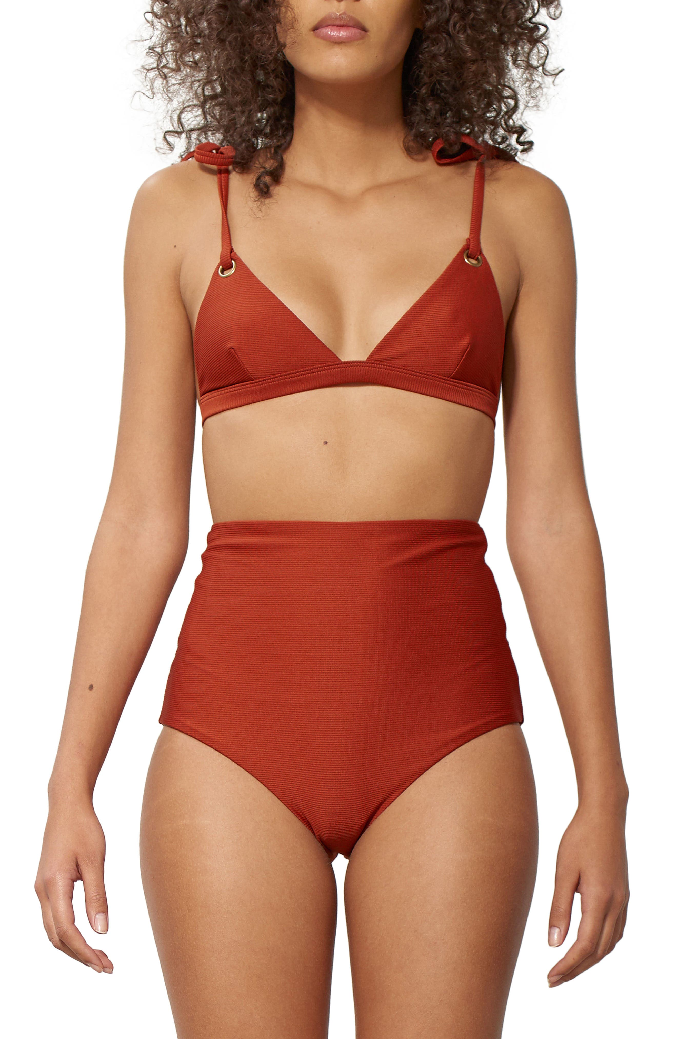 Ina Grommet Bikini Top,                             Alternate thumbnail 3, color,                             Rust
