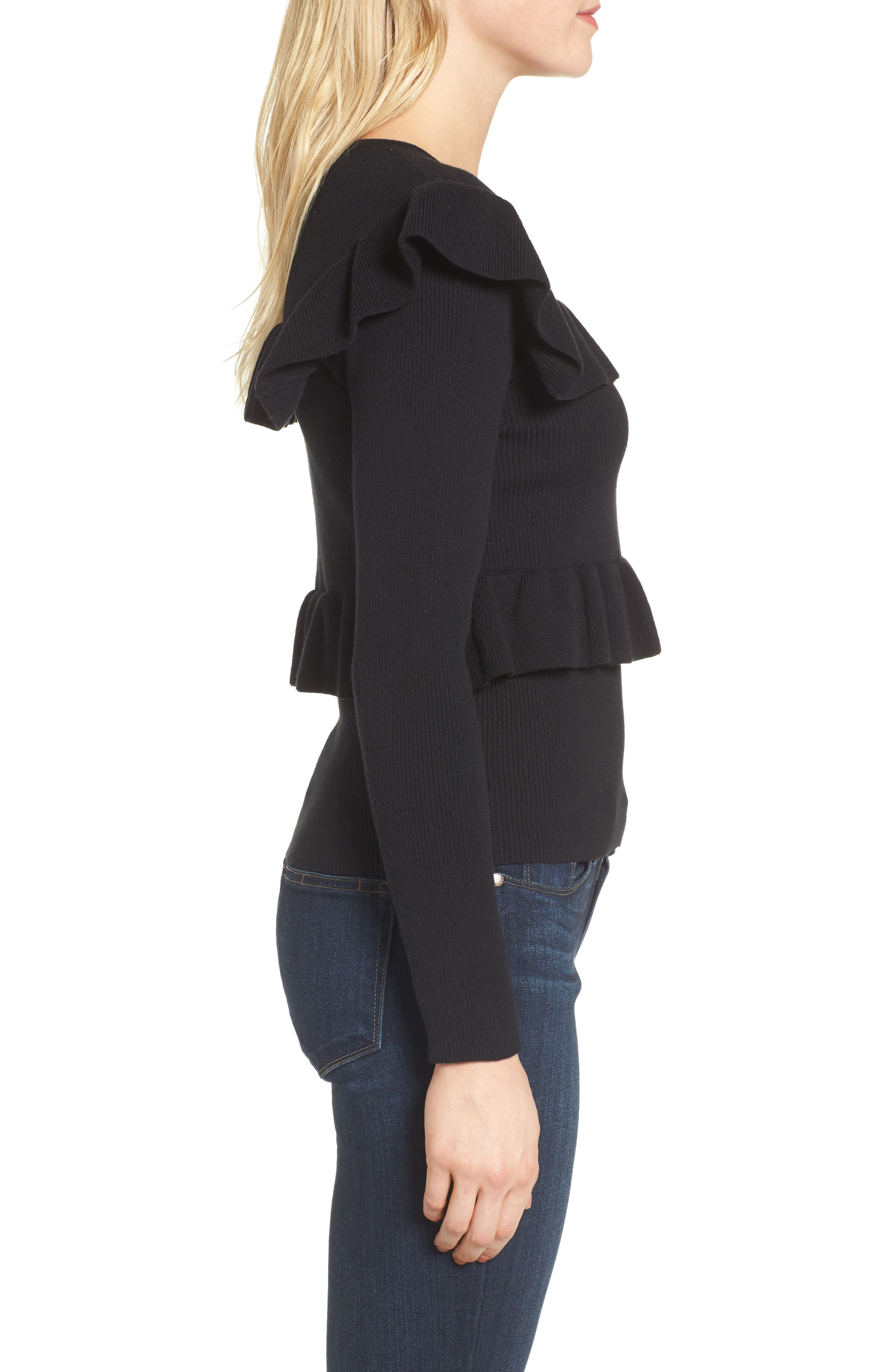 Bailey Ruffle Sweater,                             Alternate thumbnail 3, color,                             Black