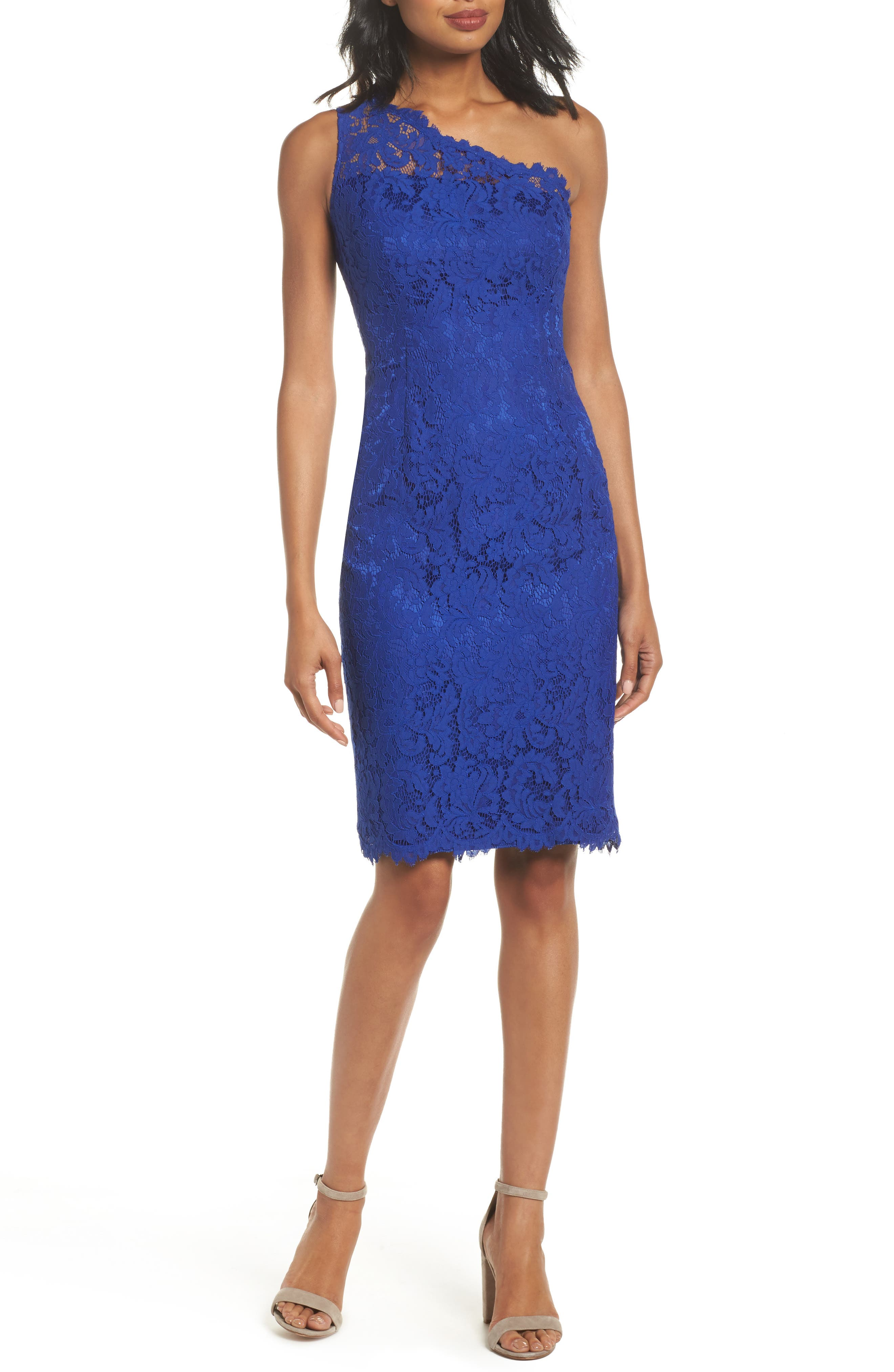 One-Shoulder Lace Sheath Dress,                         Main,                         color, Royal
