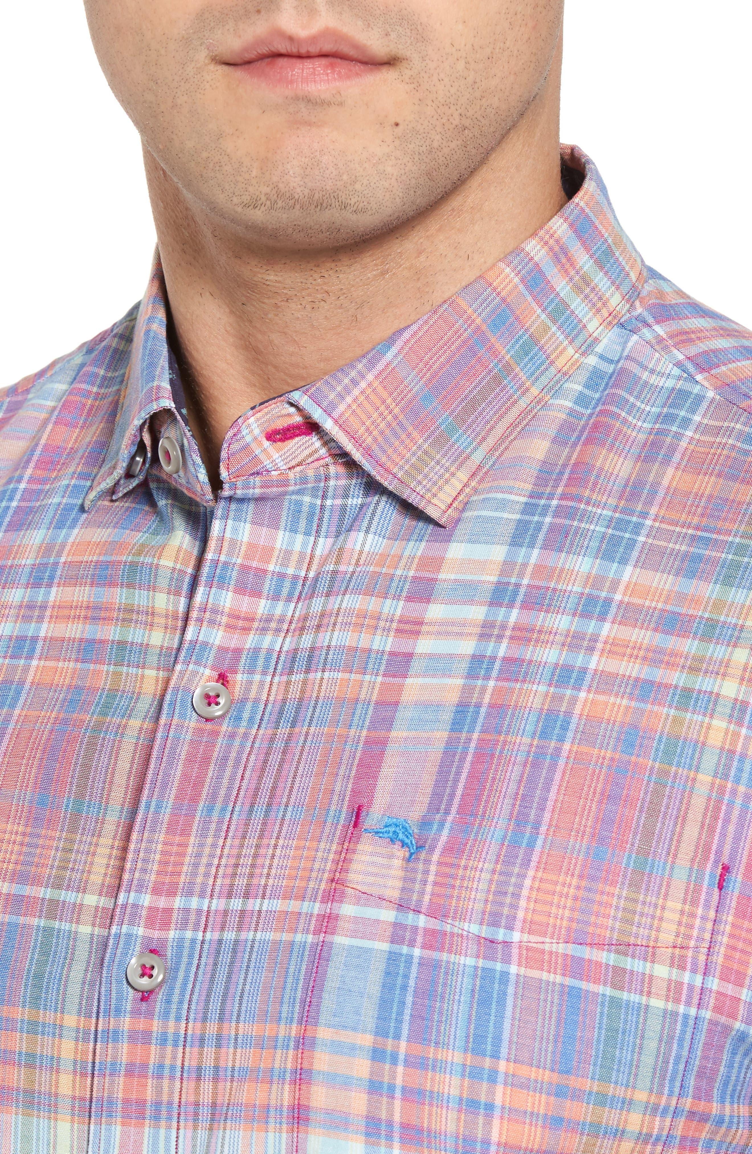 Mangrove Madras Plaid Sport Shirt,                             Alternate thumbnail 4, color,                             Virtual Pink