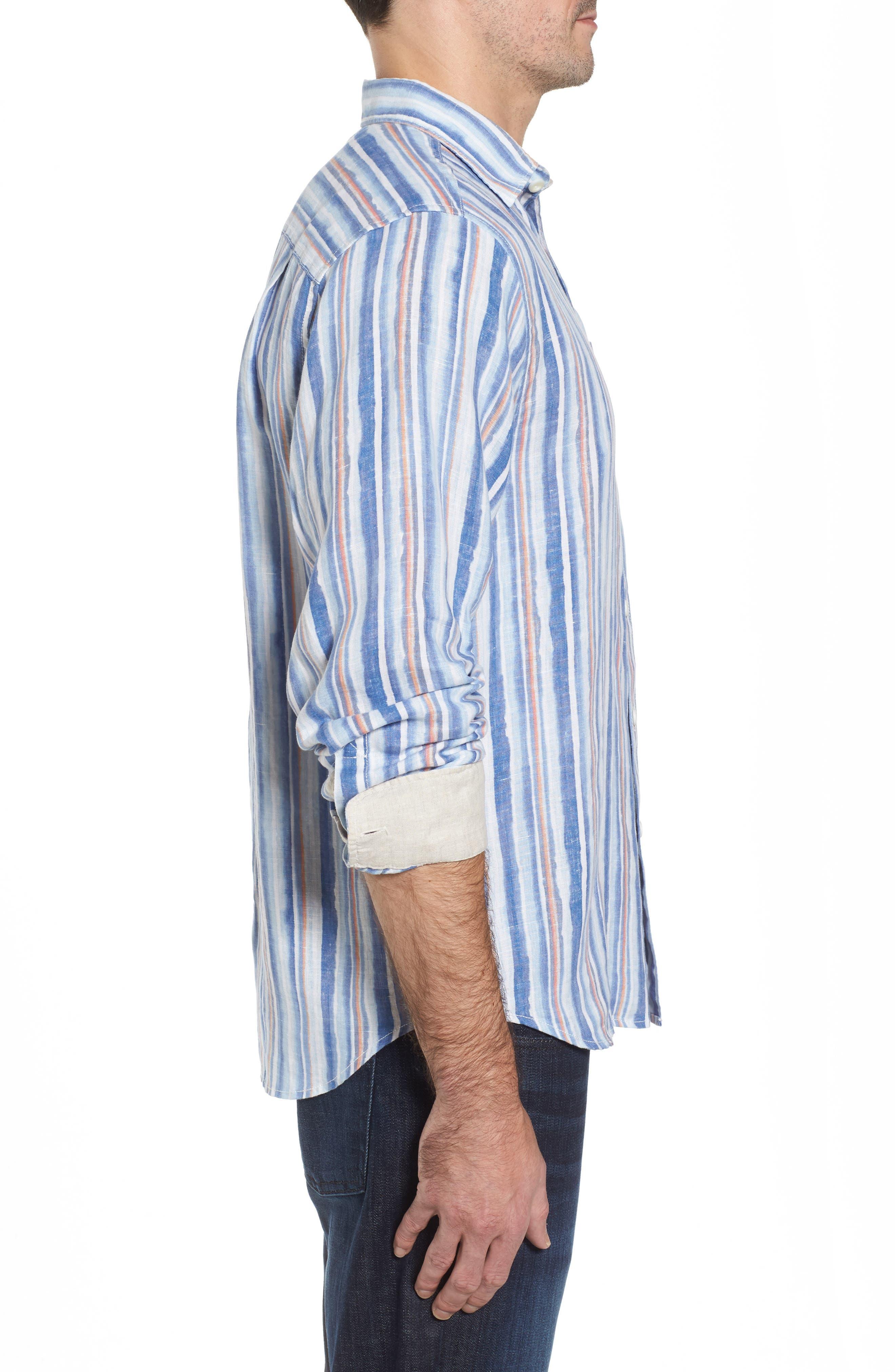 Watercrest Stripe Linen Sport Shirt,                             Alternate thumbnail 3, color,                             Cobalt Sea