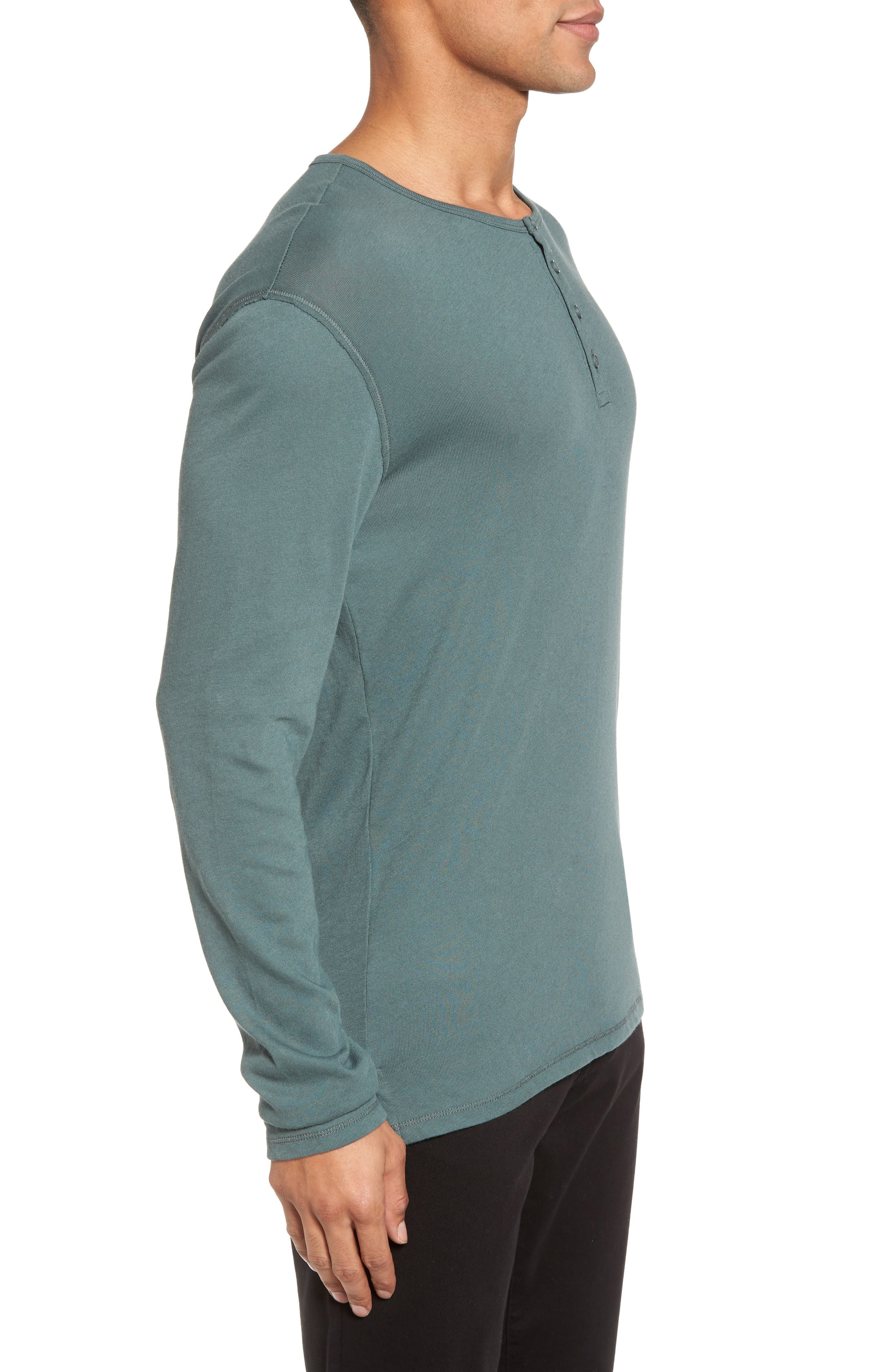 Raw Edge Long Sleeve Henley T-Shirt,                             Alternate thumbnail 3, color,                             Cilantro