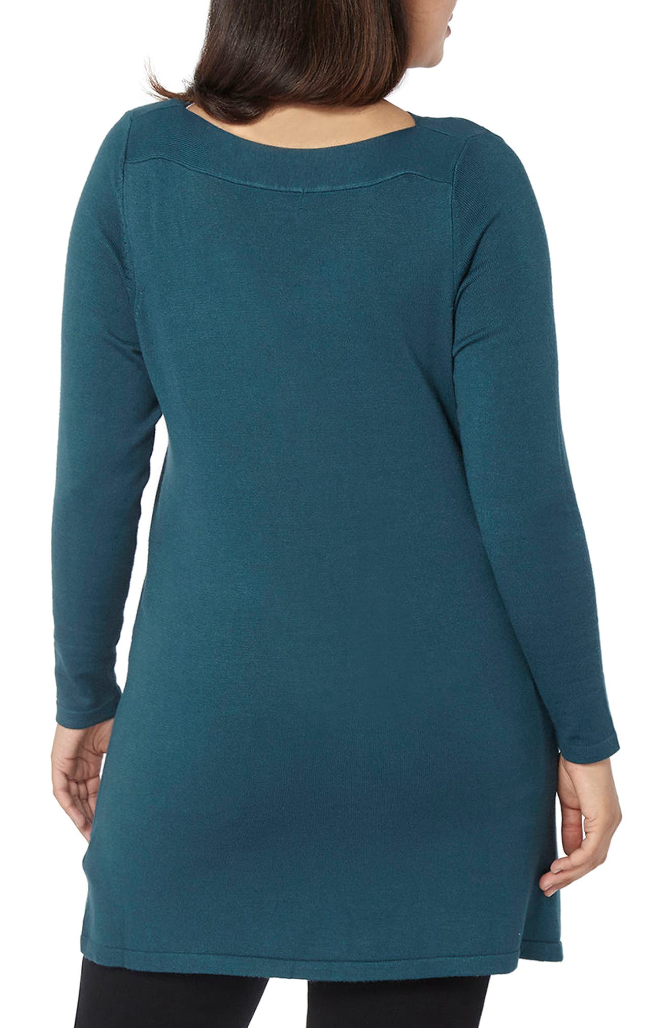Alternate Image 3  - Evans Front Pocket Textured Tunic Sweater (Plus Size)