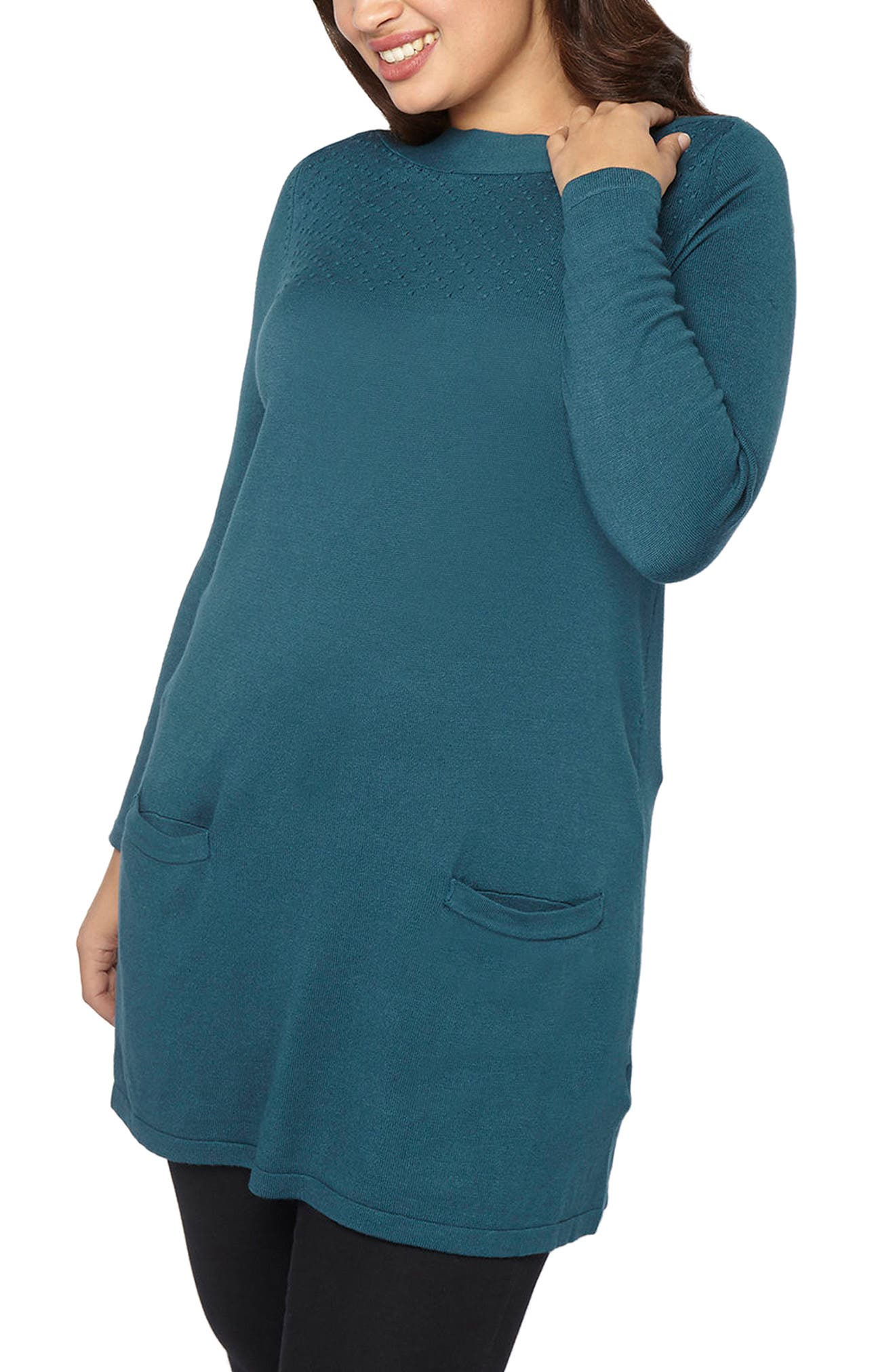 Front Pocket Textured Tunic Sweater,                         Main,                         color, Teal