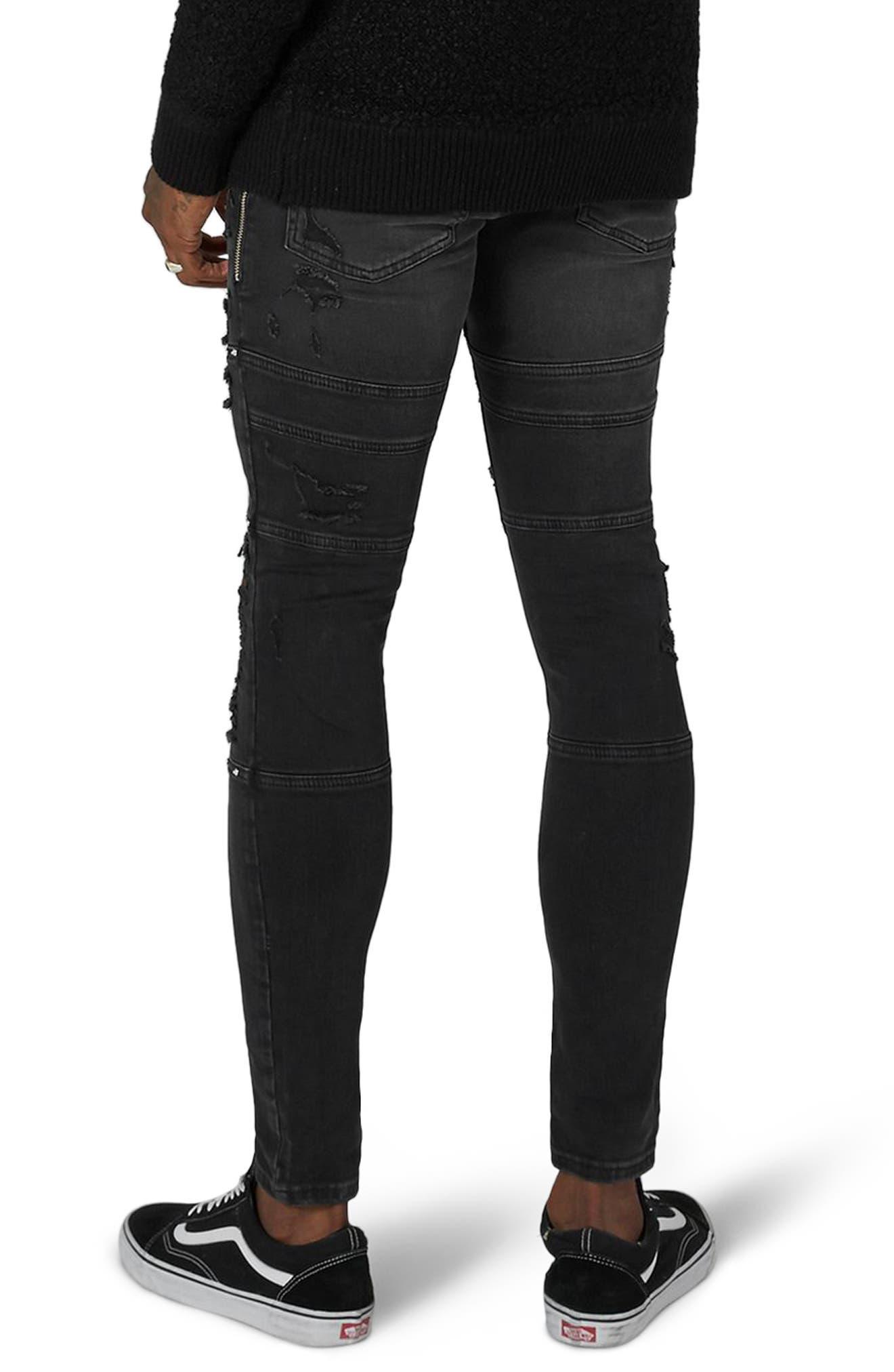 Studded Spray-On Biker Jeans,                             Alternate thumbnail 2, color,                             Black
