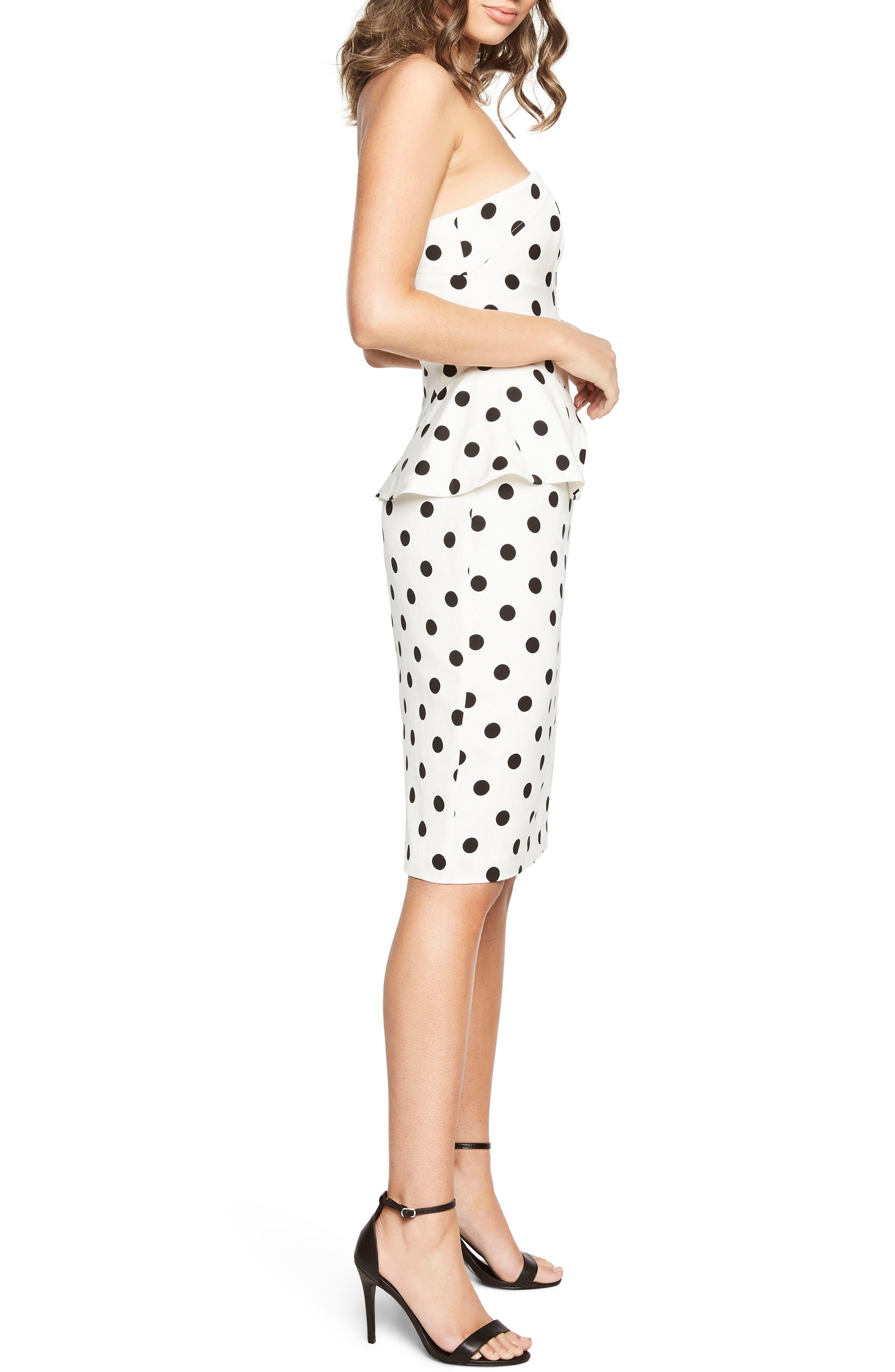 Suri Polka Dot Peplum Dress,                             Alternate thumbnail 4, color,                             White Spot