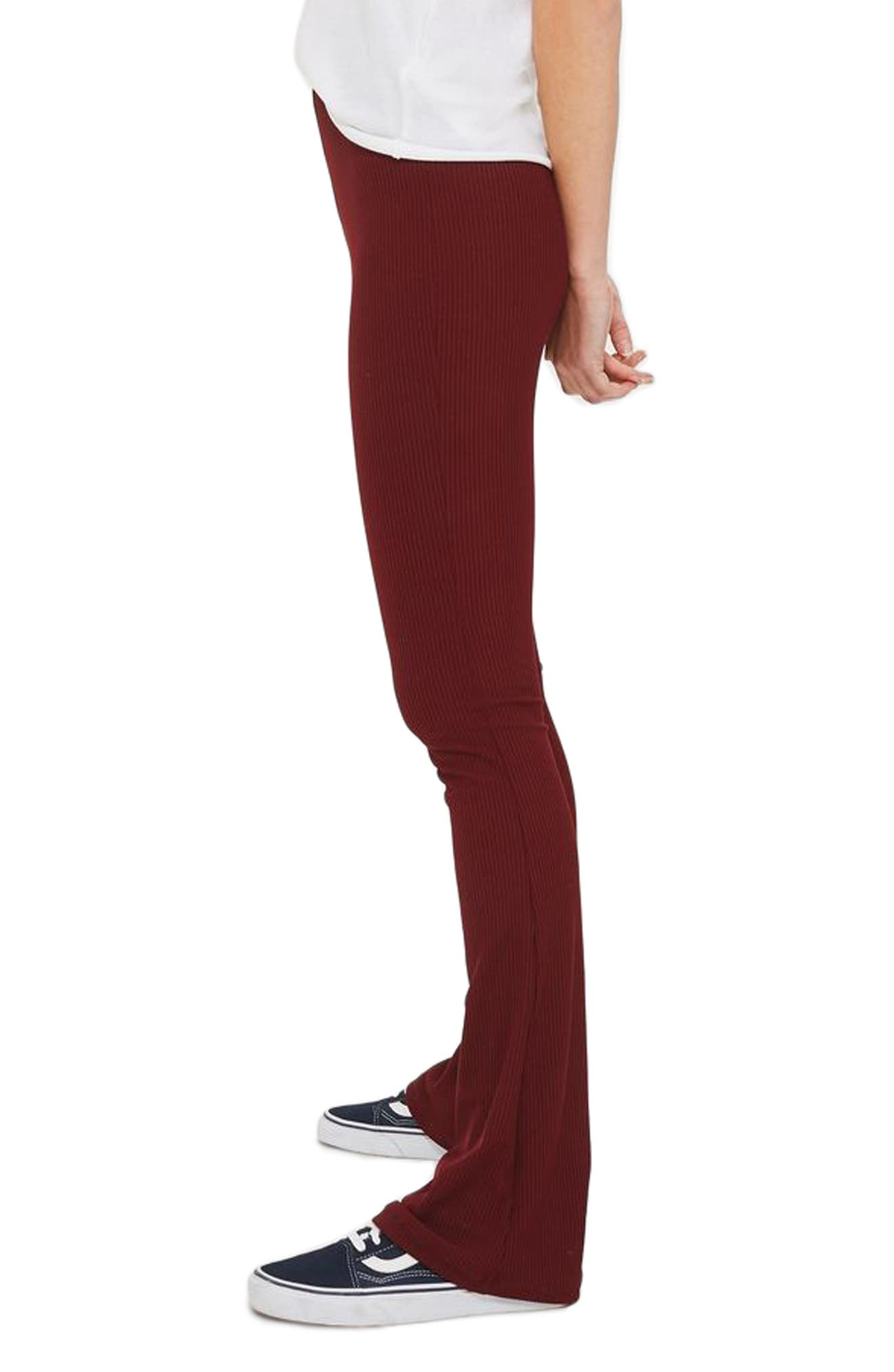 Ribbed Flare Pants,                             Alternate thumbnail 3, color,                             Burgundy