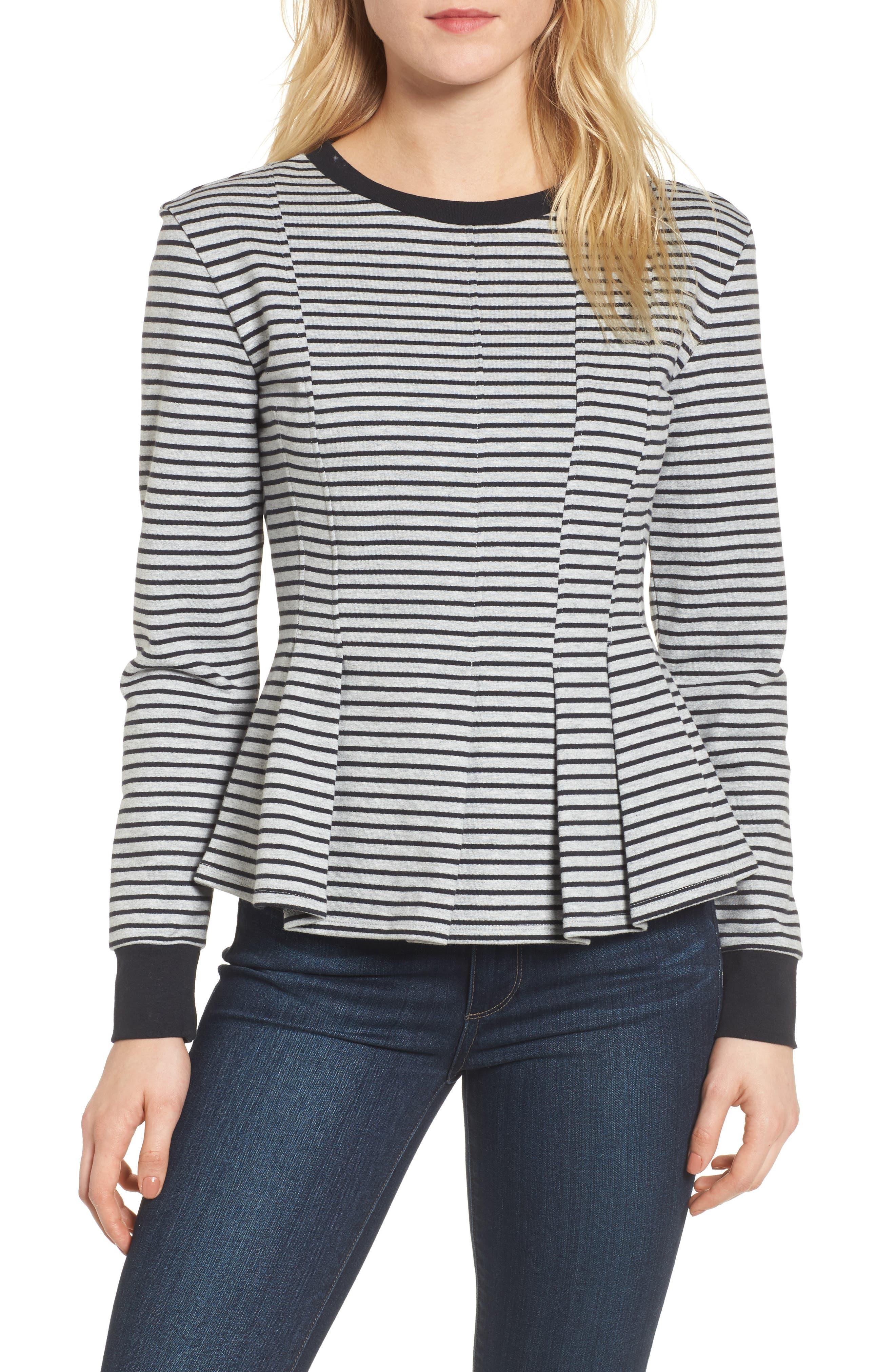 Pleated Sweatshirt,                             Main thumbnail 1, color,                             Grey Heather- Navy Seam Stripe