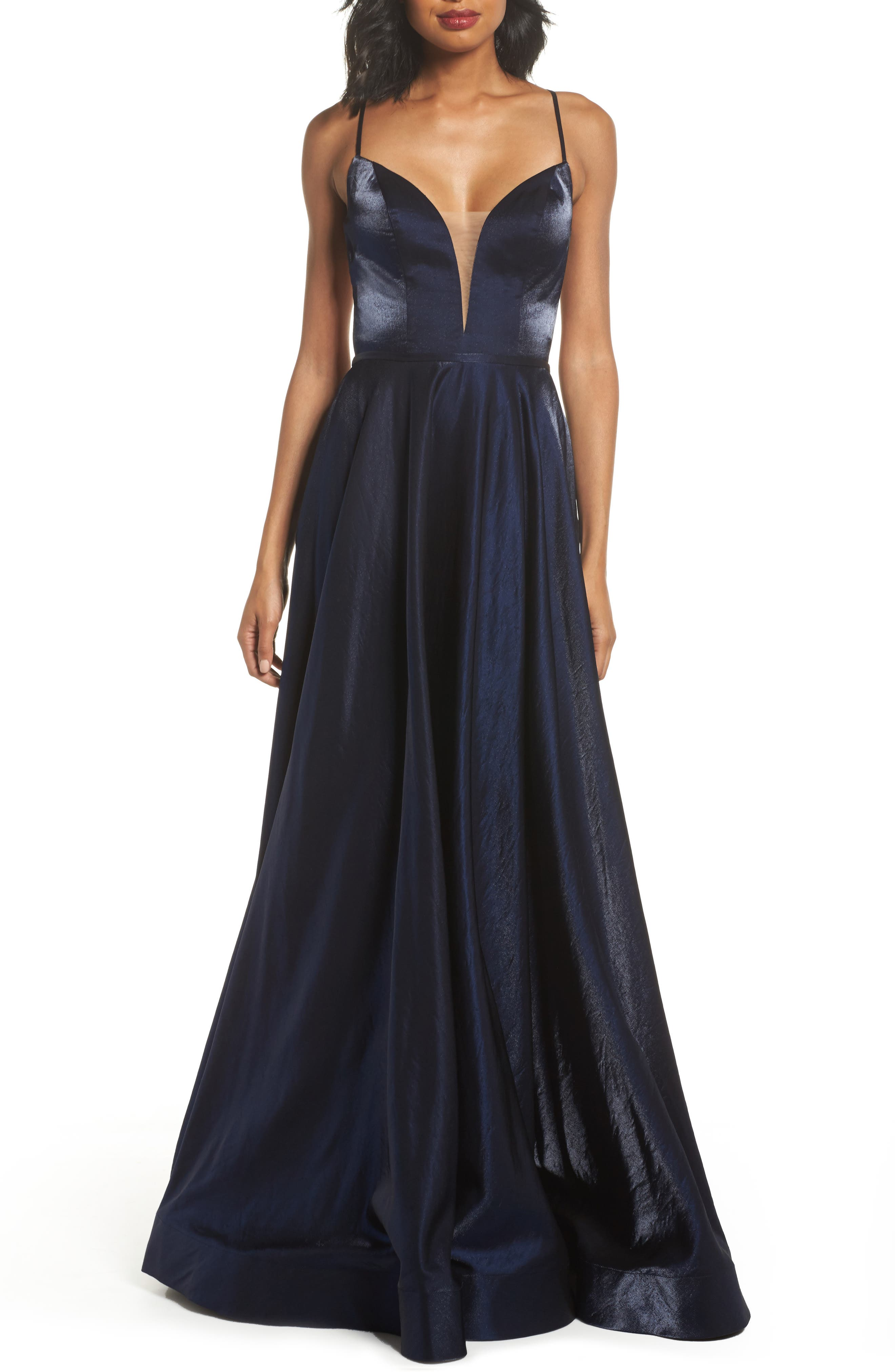 Plunging Satin A-Line Gown,                         Main,                         color, Navy