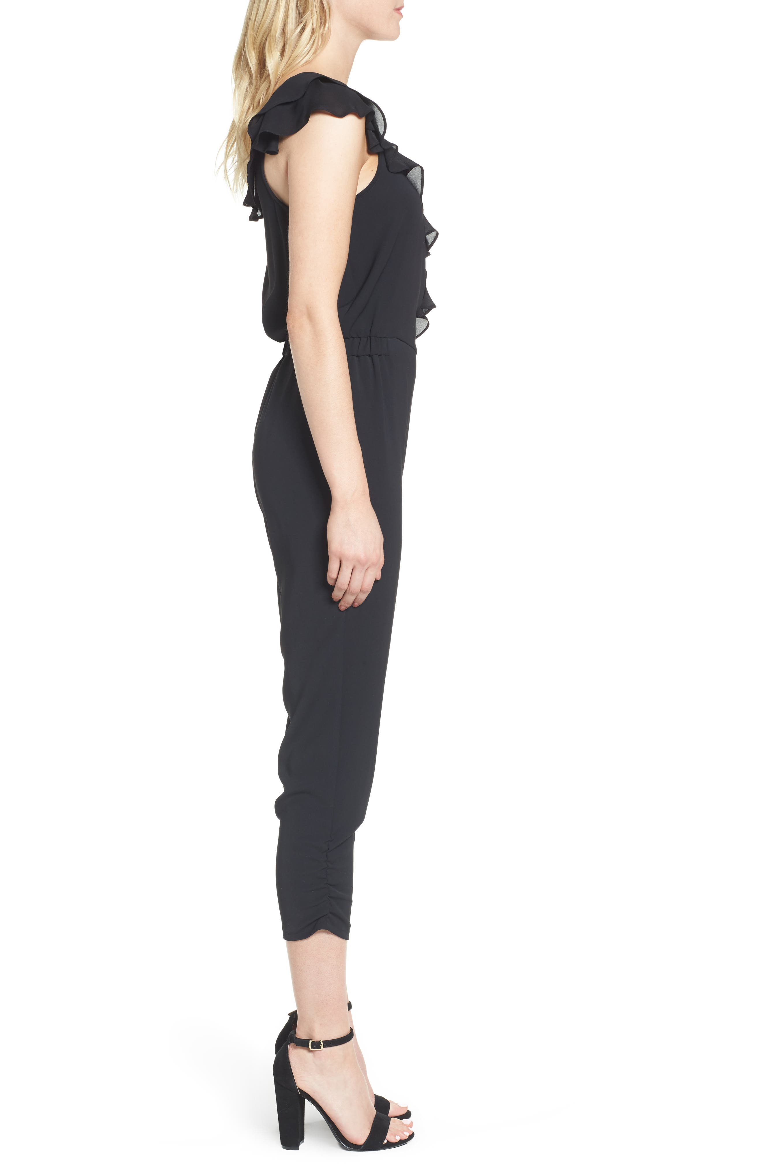 Addison Asymmetrical Jumpsuit,                             Alternate thumbnail 3, color,                             Black