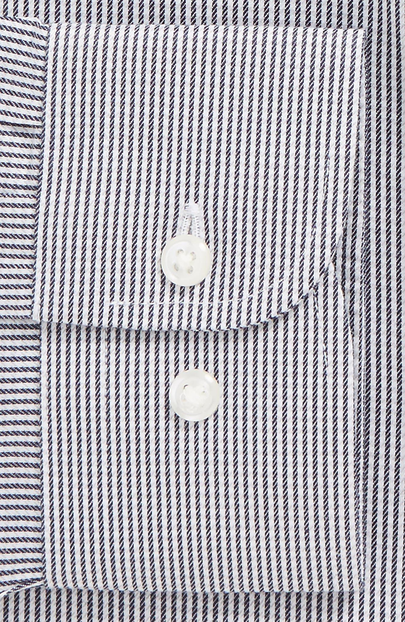 Smartcare<sup>™</sup> Trim Fit Stripe Dress Shirt,                             Alternate thumbnail 5, color,                             Black Rock