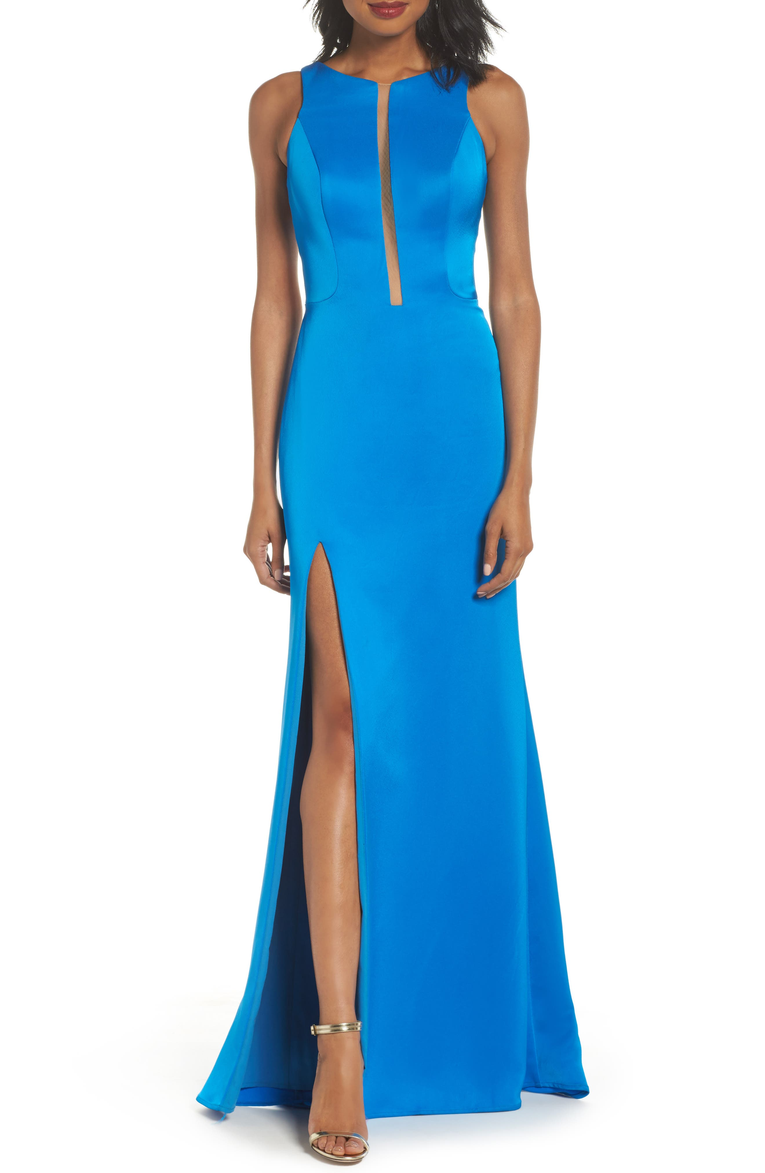 Cage Back Satin Gown,                         Main,                         color, Ocean Blue