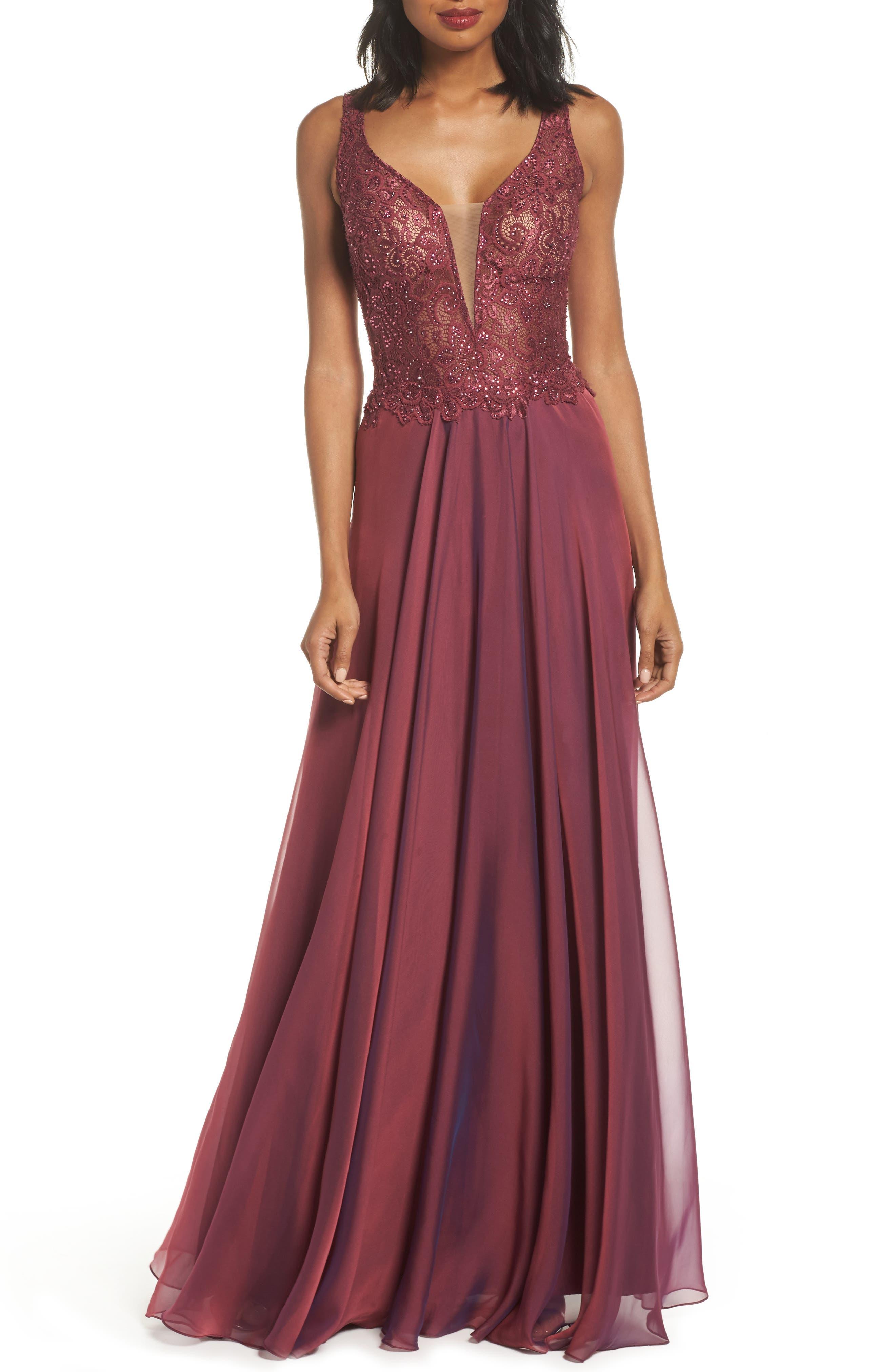 Lace & Chiffon A-Line Gown,                         Main,                         color, Boysenberry