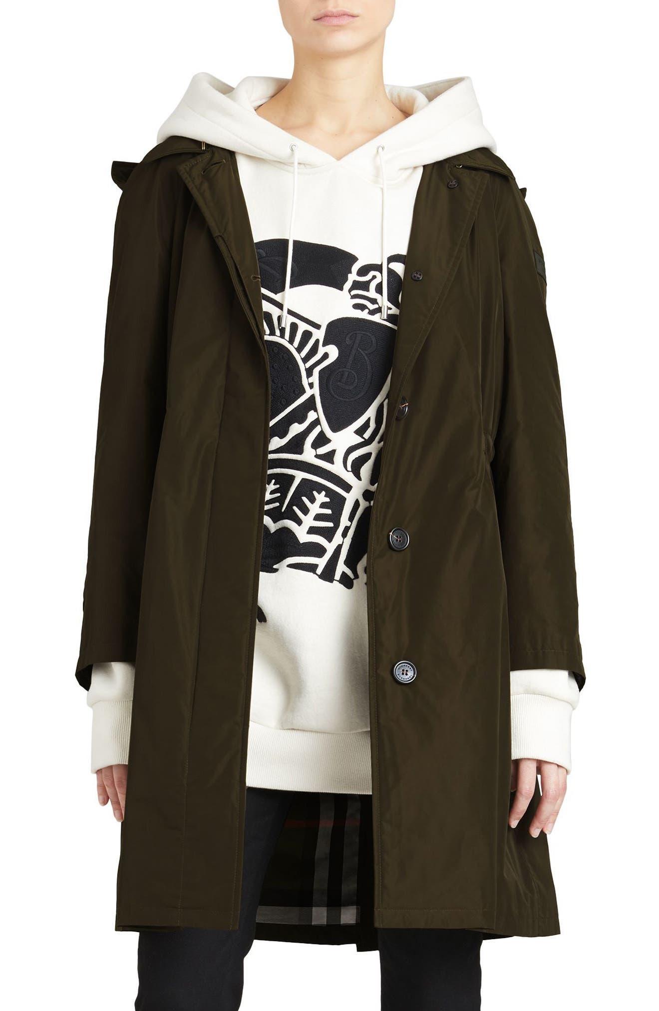 Tringford Waterproof Hooded Coat,                         Main,                         color, Dark Olive