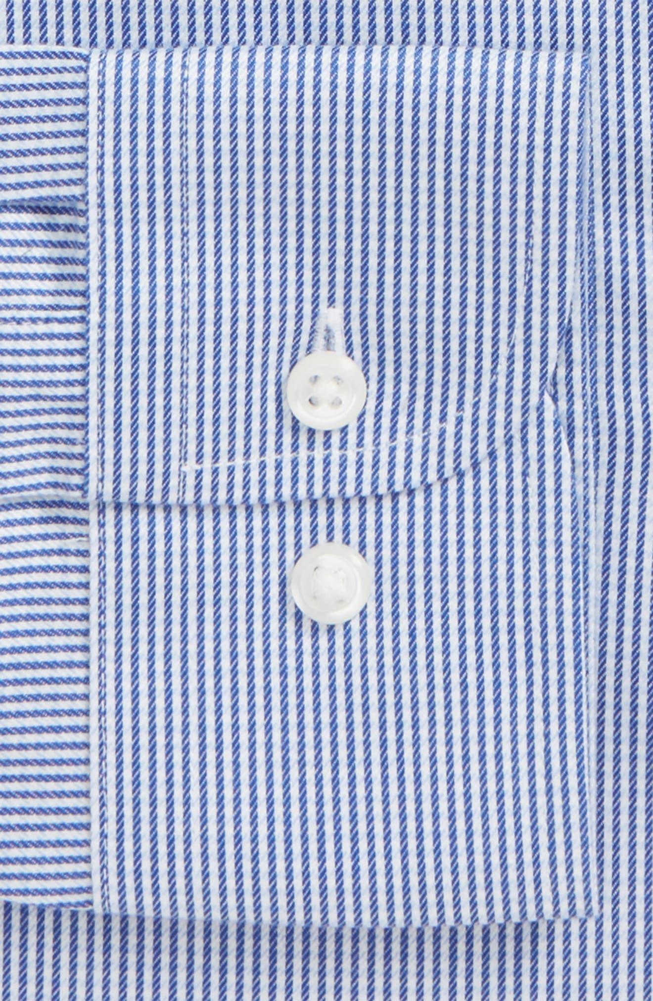 Smartcare<sup>™</sup> Extra Trim Fit Stripe Dress Shirt,                             Alternate thumbnail 5, color,                             Navy Print