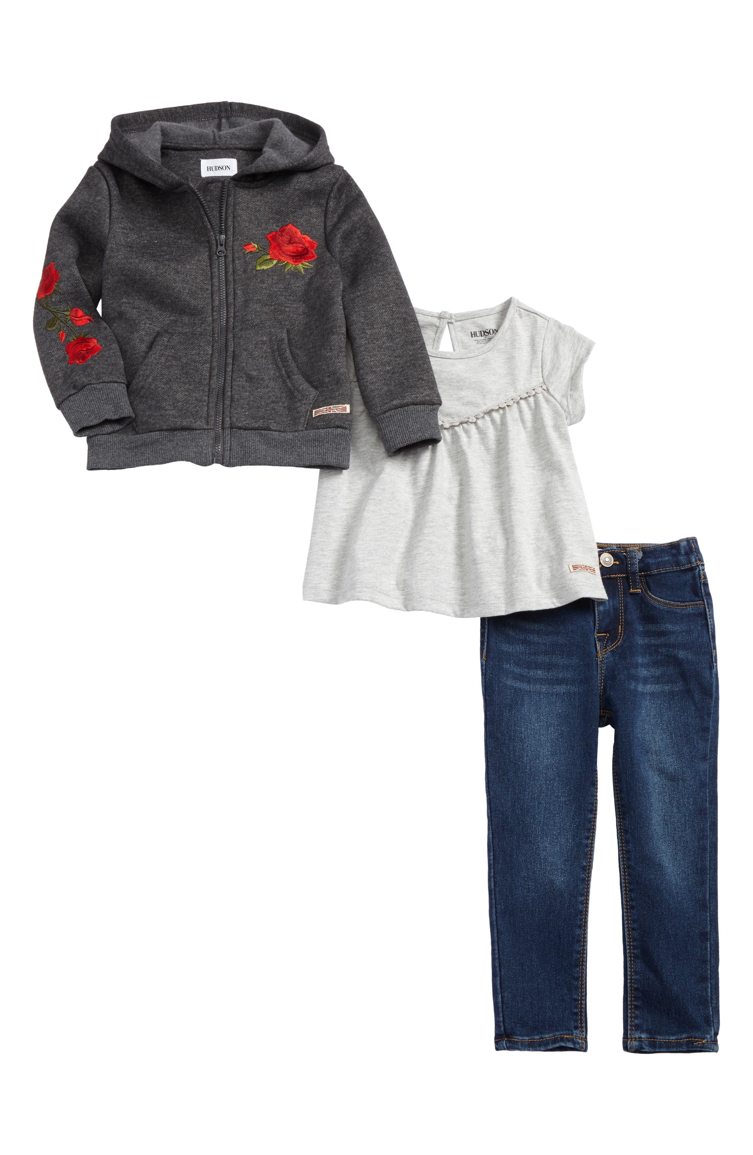 Hudson Kids Zip Front Hoodie, Tee & Skinny Jeans Set (Toddler Girls)