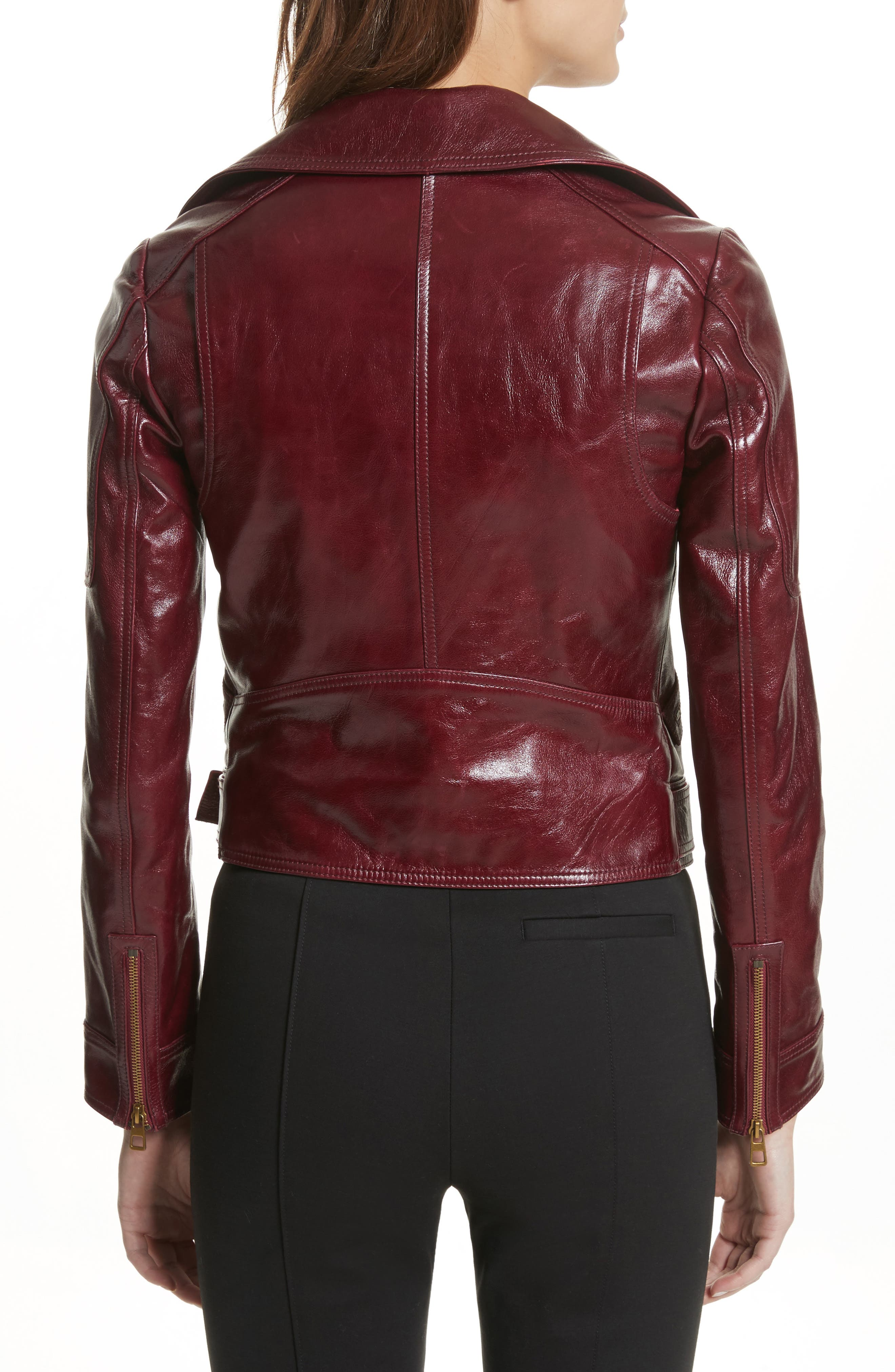 Bianca Leather Moto Jacket,                             Alternate thumbnail 2, color,                             Red