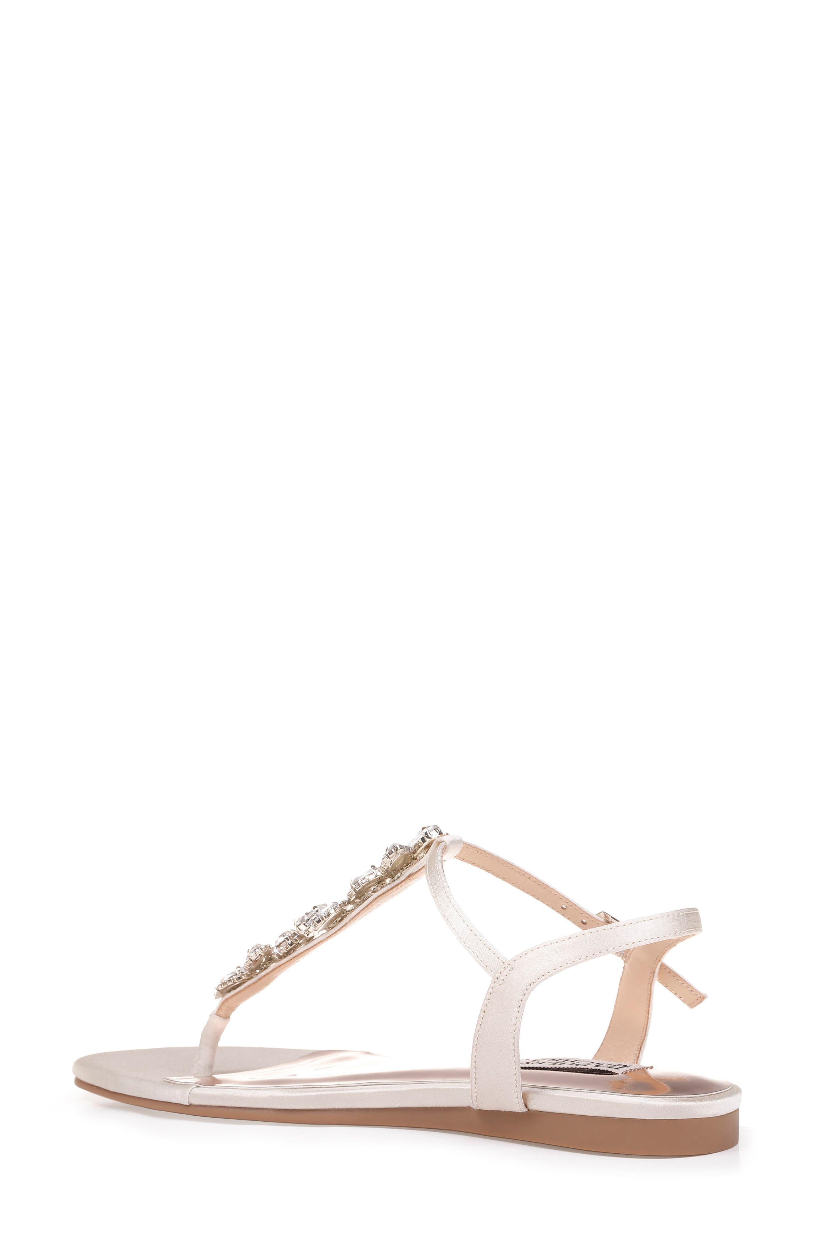 Sissi Crystal Embellished Sandal,                             Alternate thumbnail 2, color,                             Ivory Satin